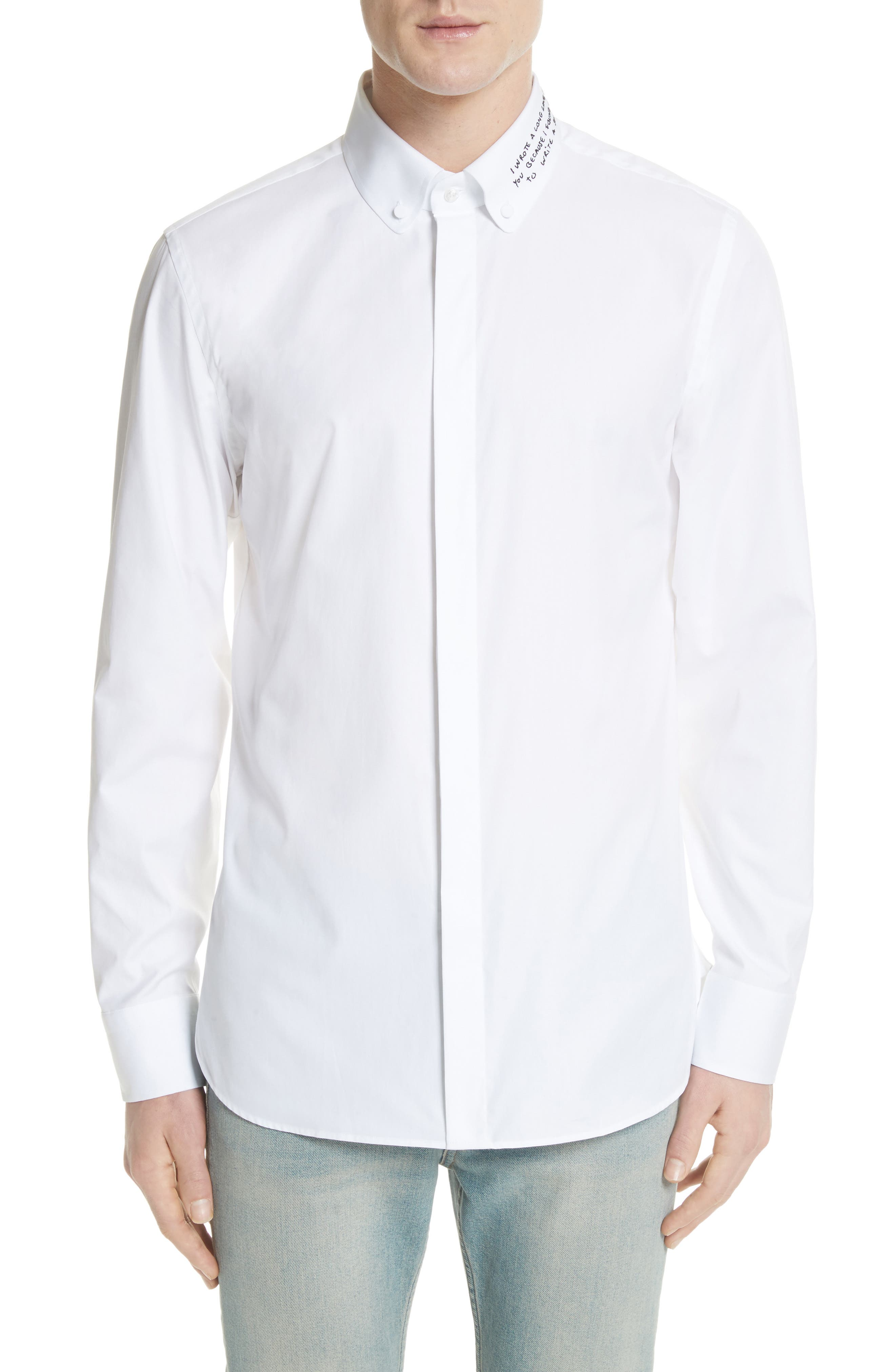 Gucci Love Poem Embroidered Collar Button-Down Shirt