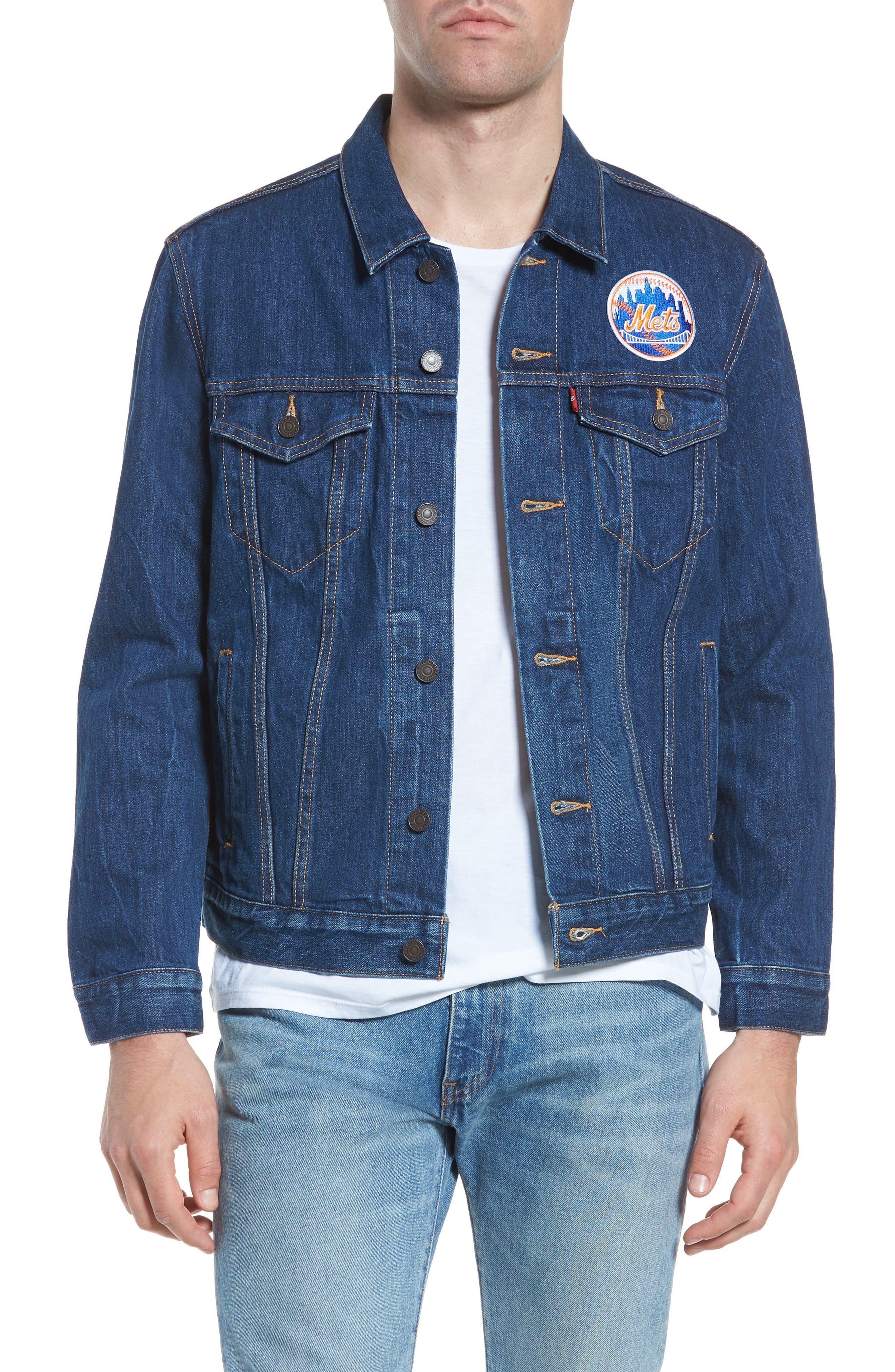MLB Mets Denim Trucker Jacket,                         Main,                         color, Mets