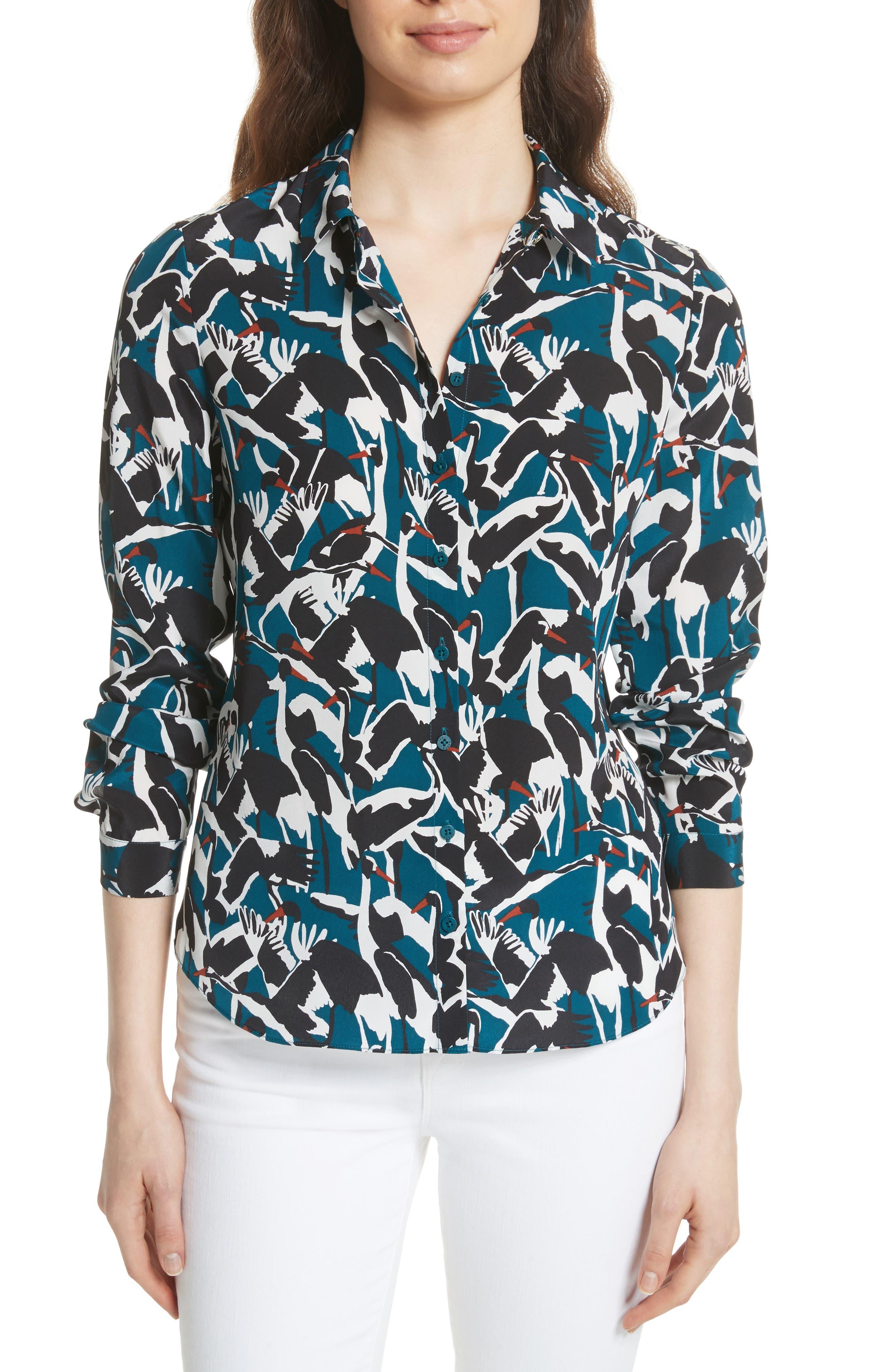 Colour by Numbers Crane Print Silk Shirt,                             Main thumbnail 1, color,                             Teal