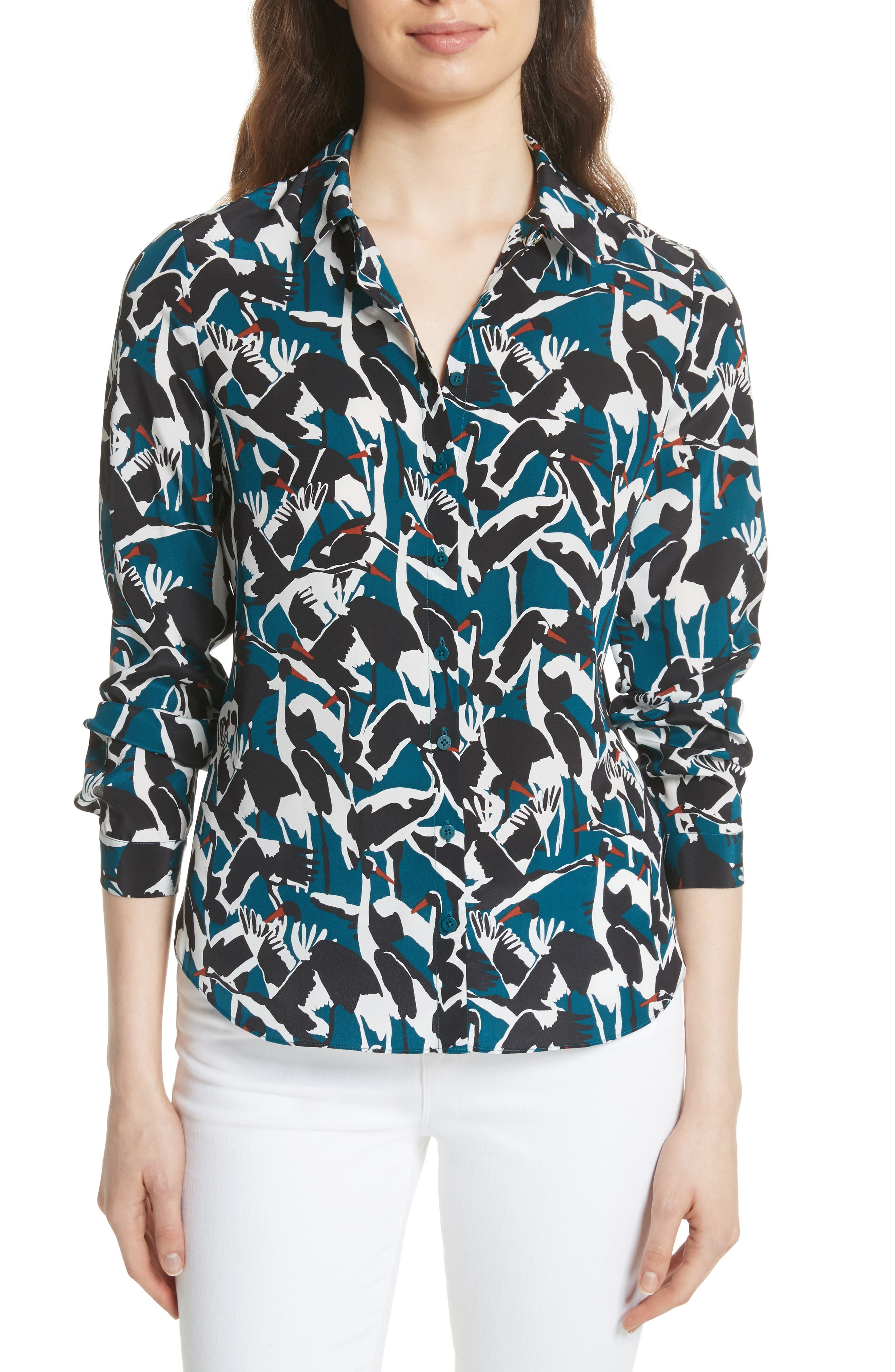 Colour by Numbers Crane Print Silk Shirt,                         Main,                         color, Teal