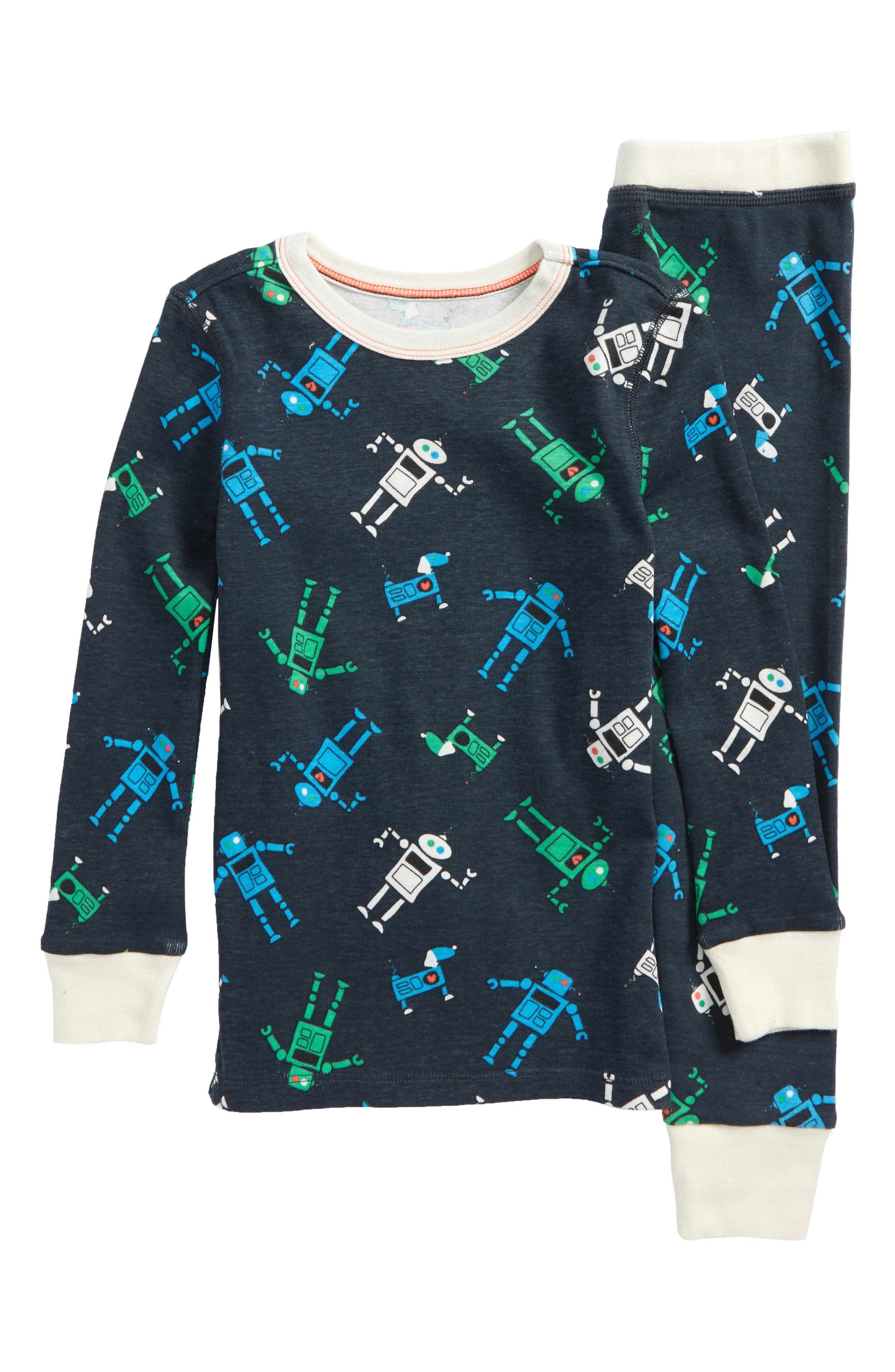 Robots Fitted Two-Piece Pajamas,                             Main thumbnail 1, color,                             Charcoal