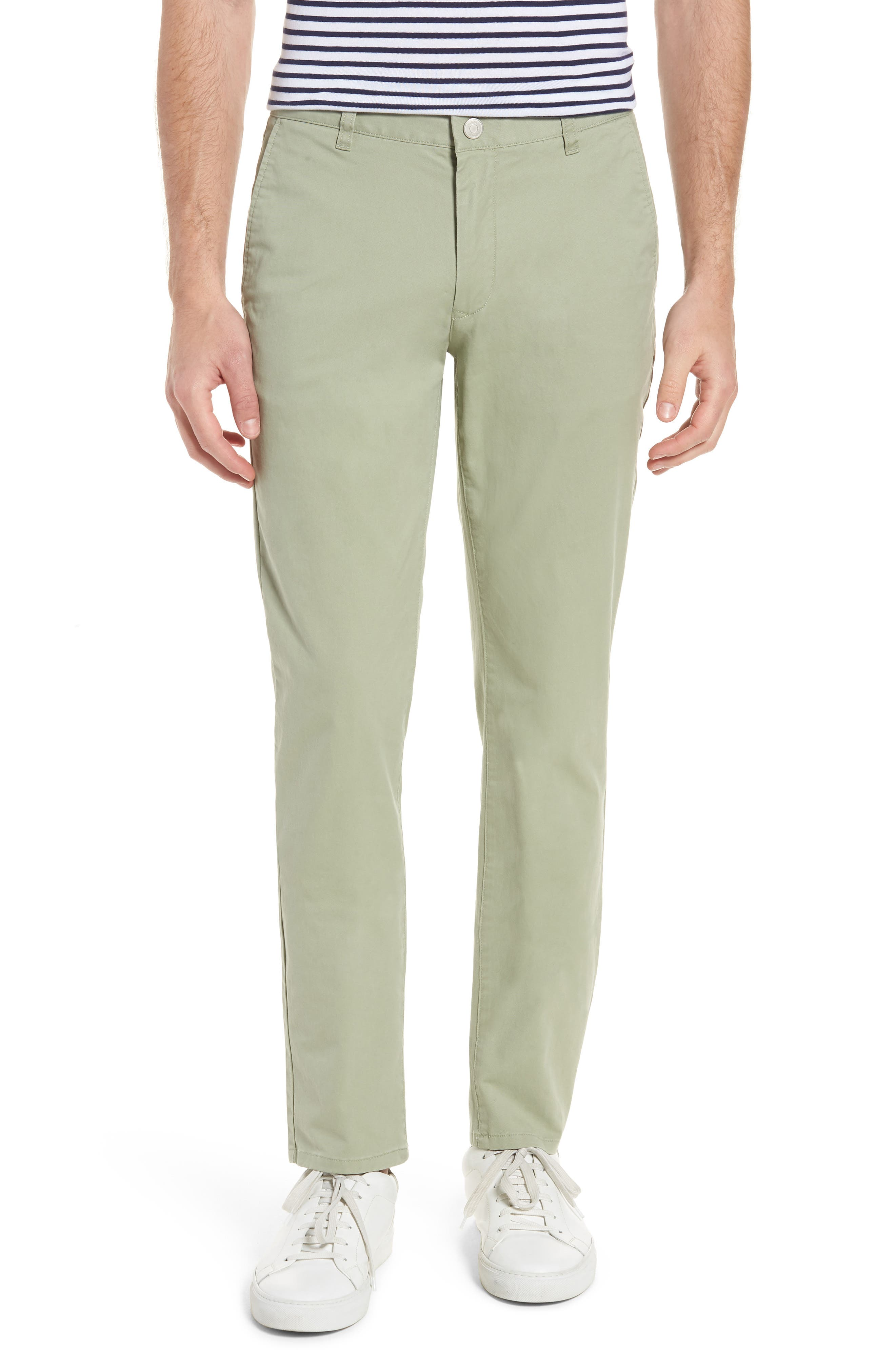 Tailored Fit Washed Stretch Cotton Chinos,                         Main,                         color, Sage Brush