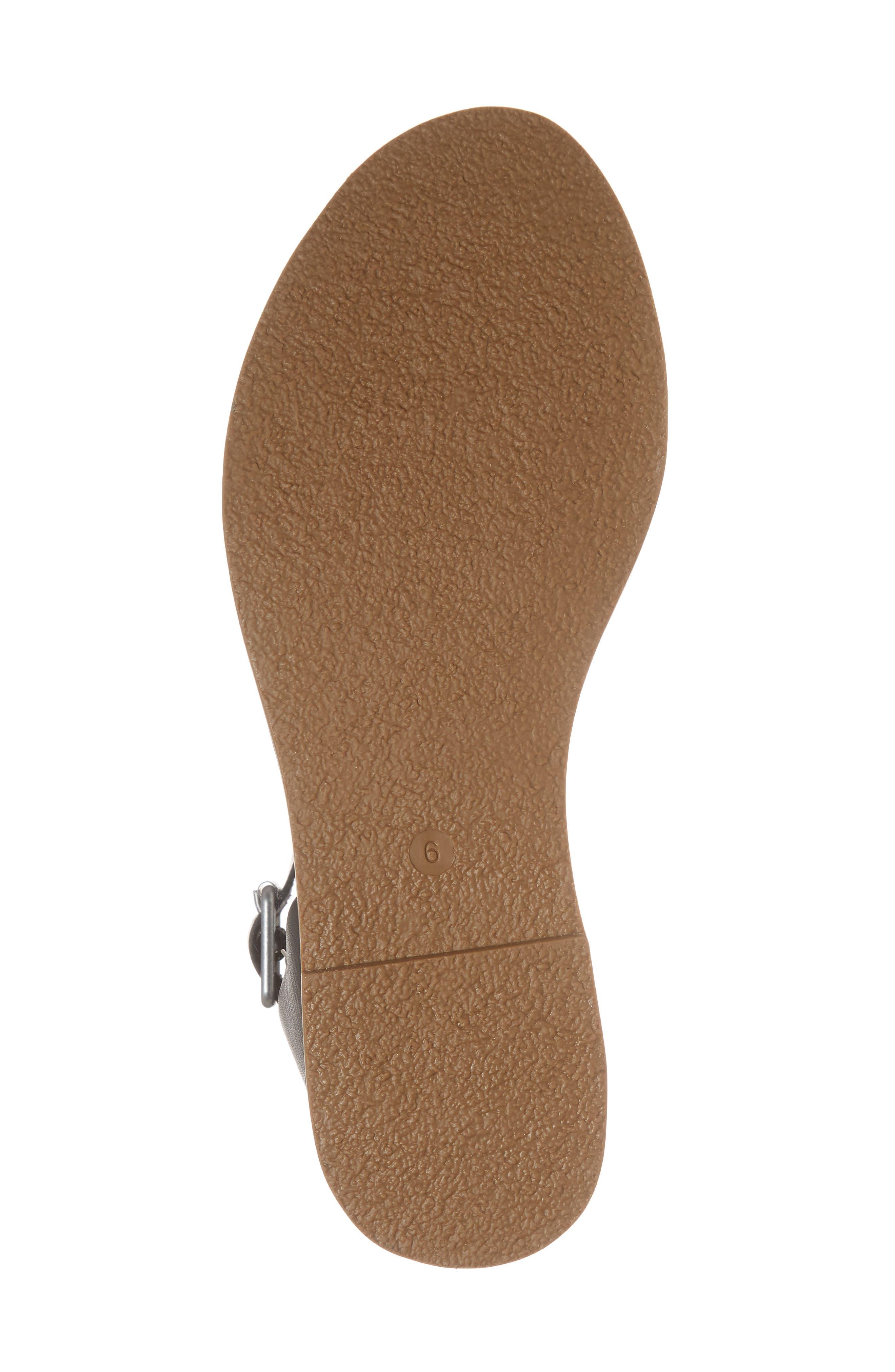 The Boardwalk Ankle Strap Sandal,                             Alternate thumbnail 6, color,                             True Black Leather