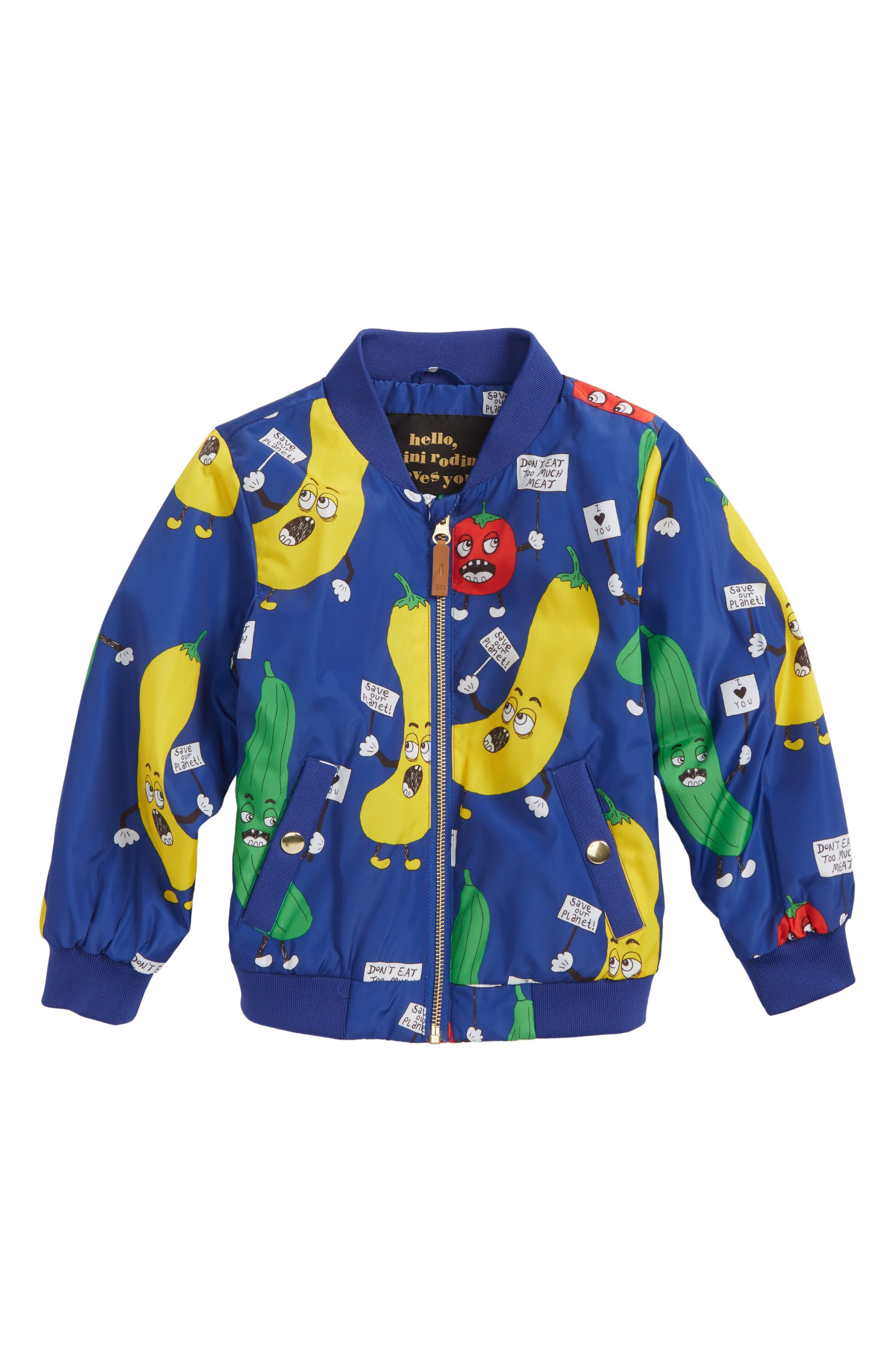 Main Image - Mini Rodini Veggie Weatherproof Baseball Jacket (Toddler Boys & Little Boys)