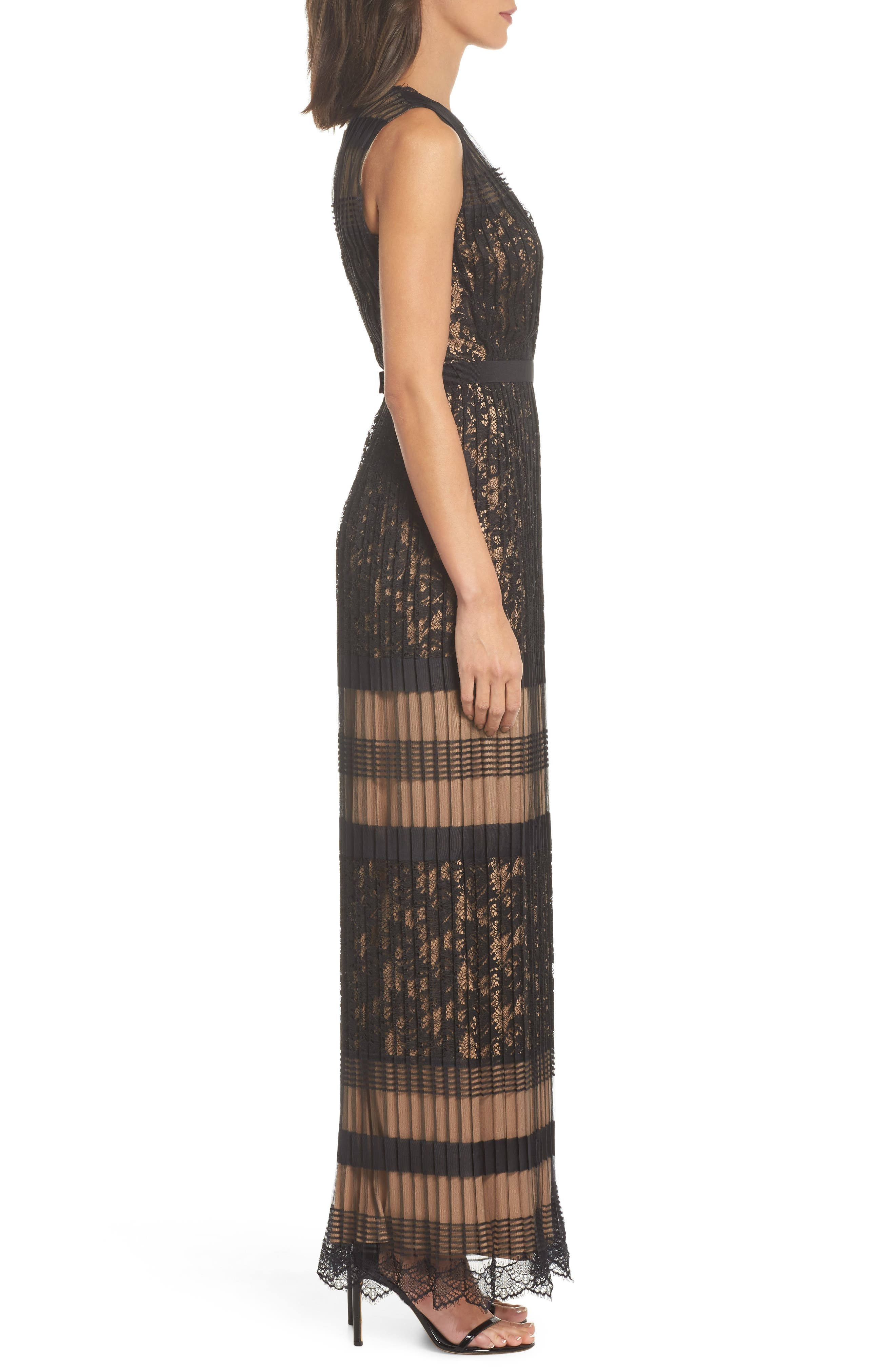 Pleated Lace Gown,                             Alternate thumbnail 3, color,                             Black/ Nude