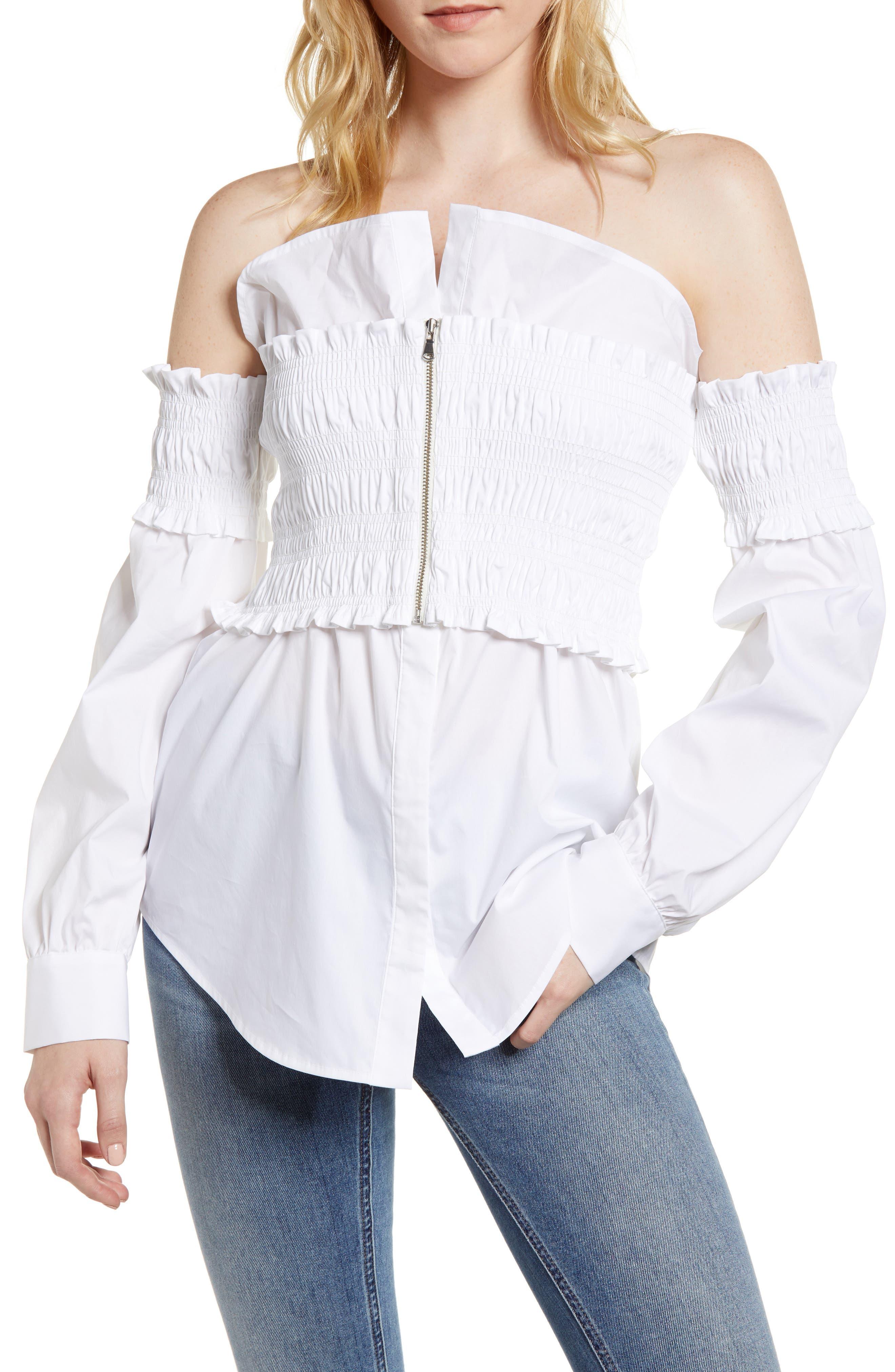 Smocked Corset Shirt,                         Main,                         color, White
