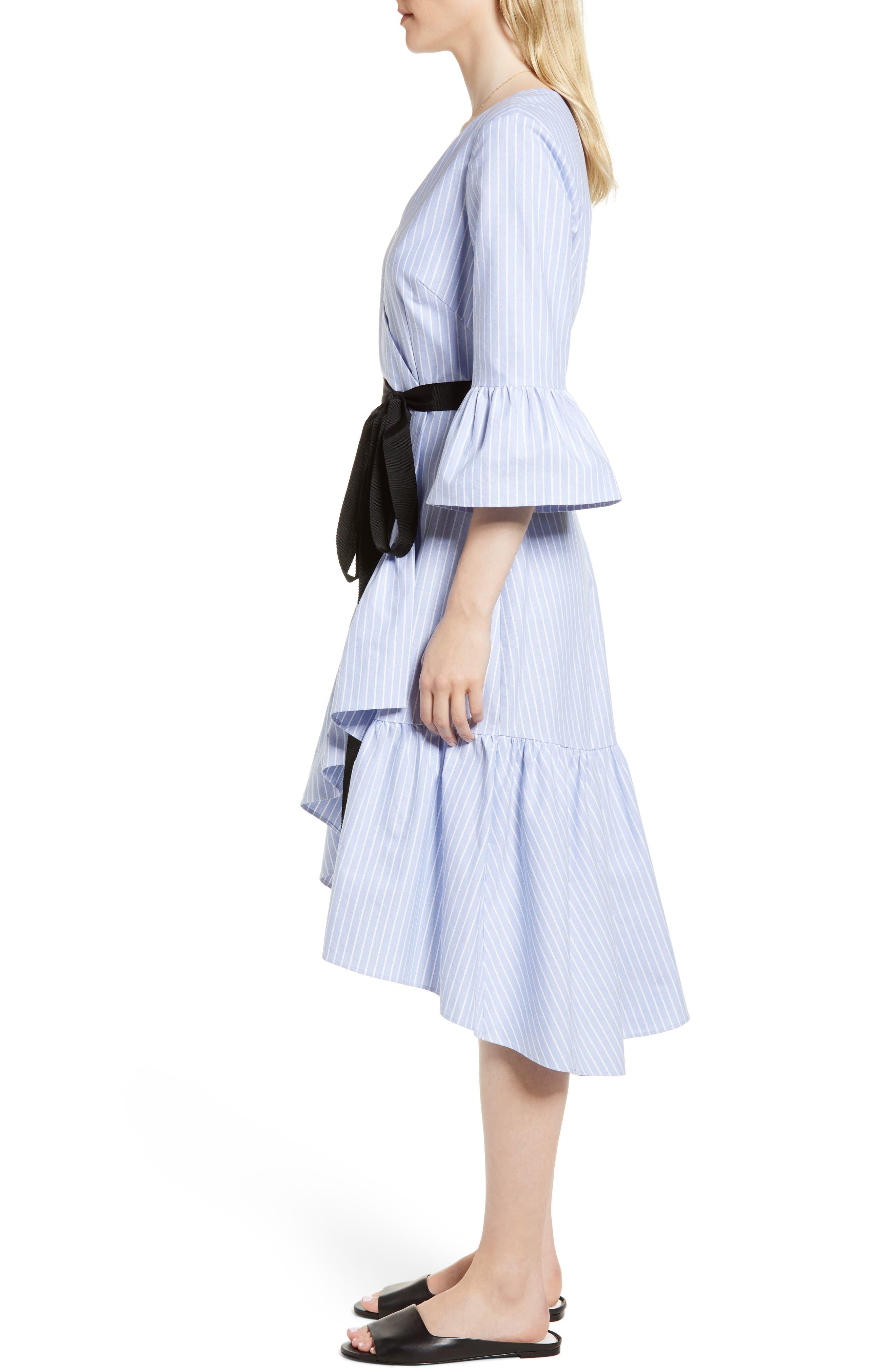 Ruffle Hem Faux Wrap Dress,                             Alternate thumbnail 3, color,                             Blue- White Stripe