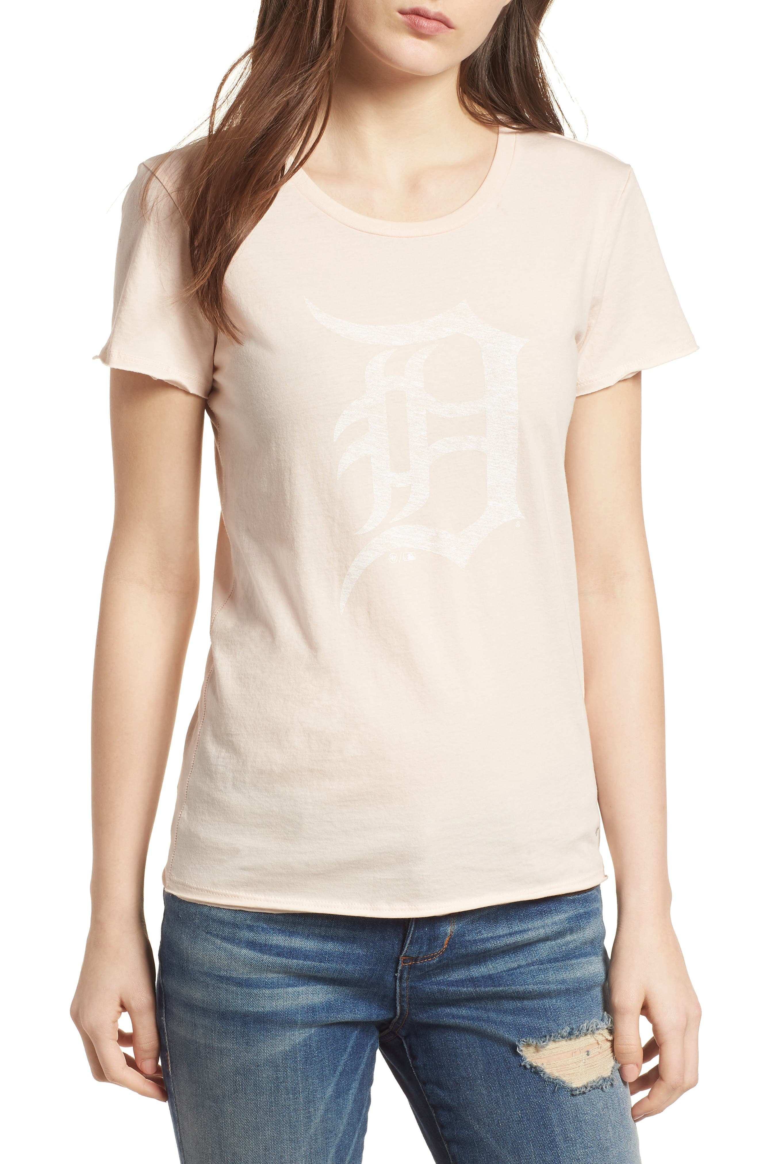Detroit Tigers Fader Letter Tee,                         Main,                         color, Blush