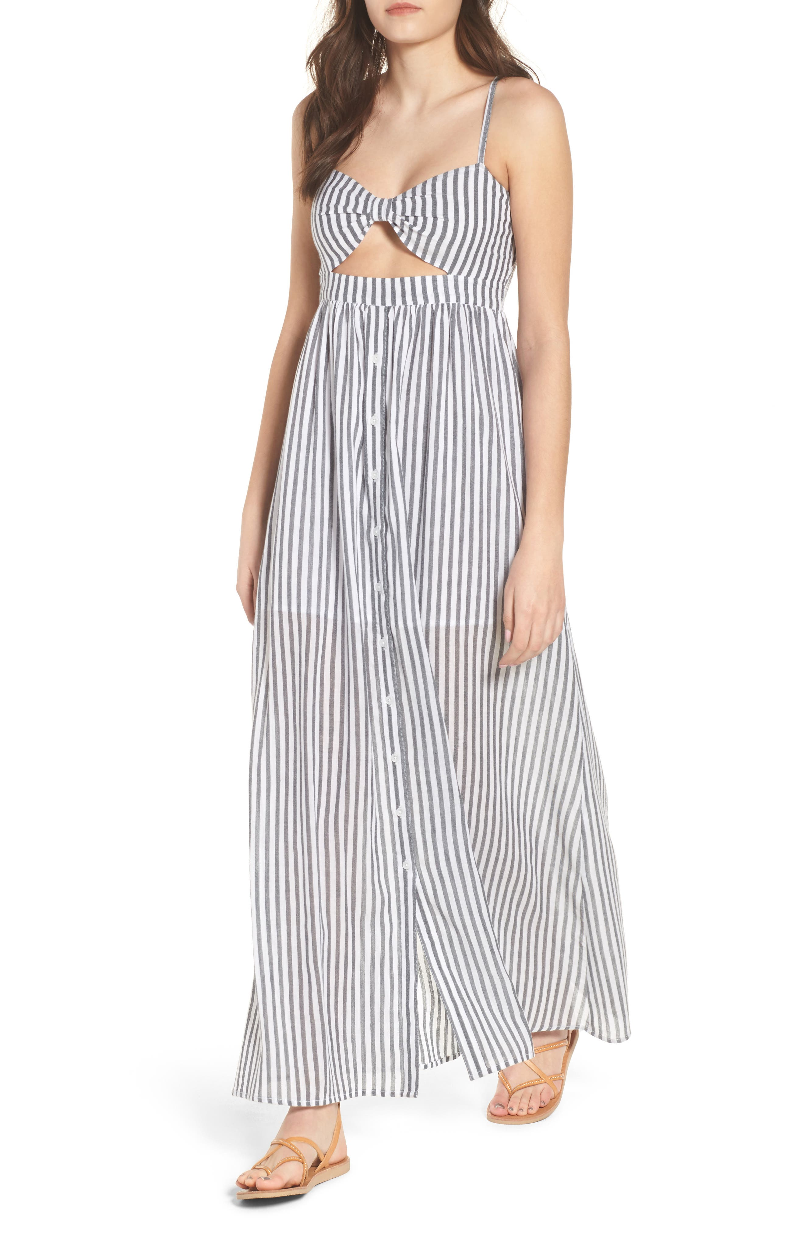 Stripe Button Front Maxi Dress,                             Main thumbnail 1, color,                             White City Stripe