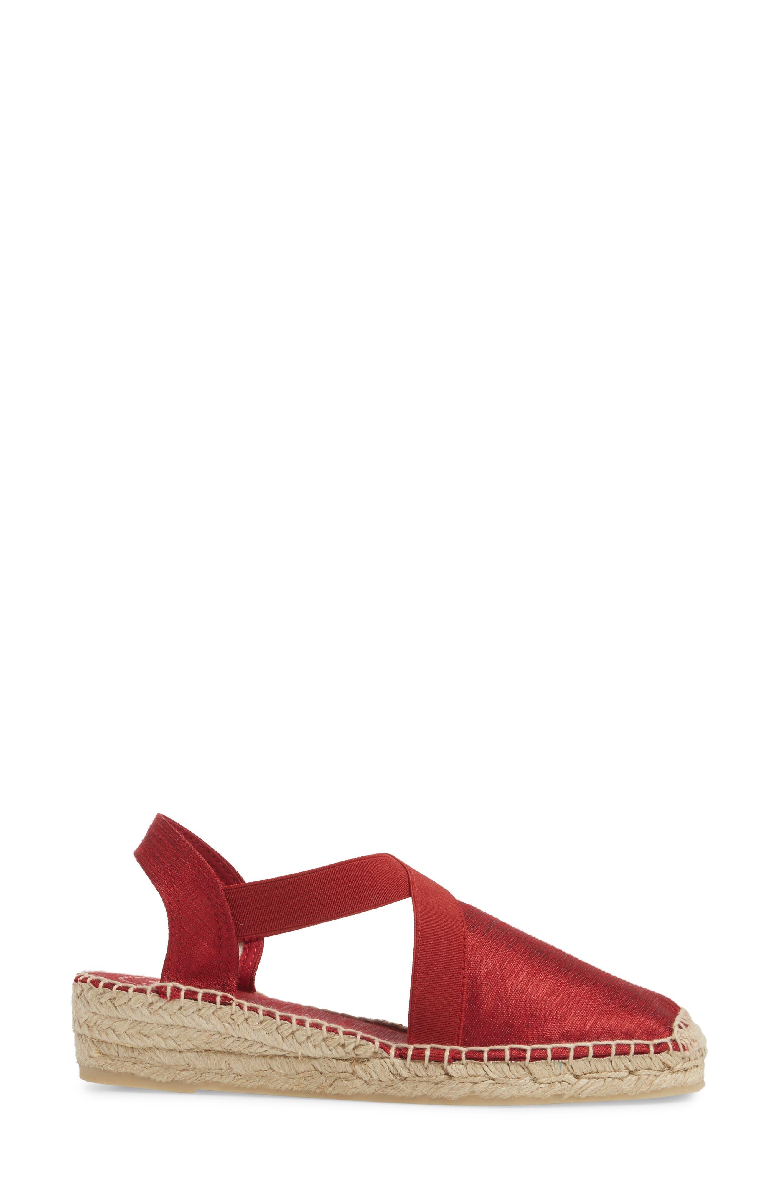 'Vic' Espadrille Slingback Sandal,                             Alternate thumbnail 3, color,                             Red Fabric