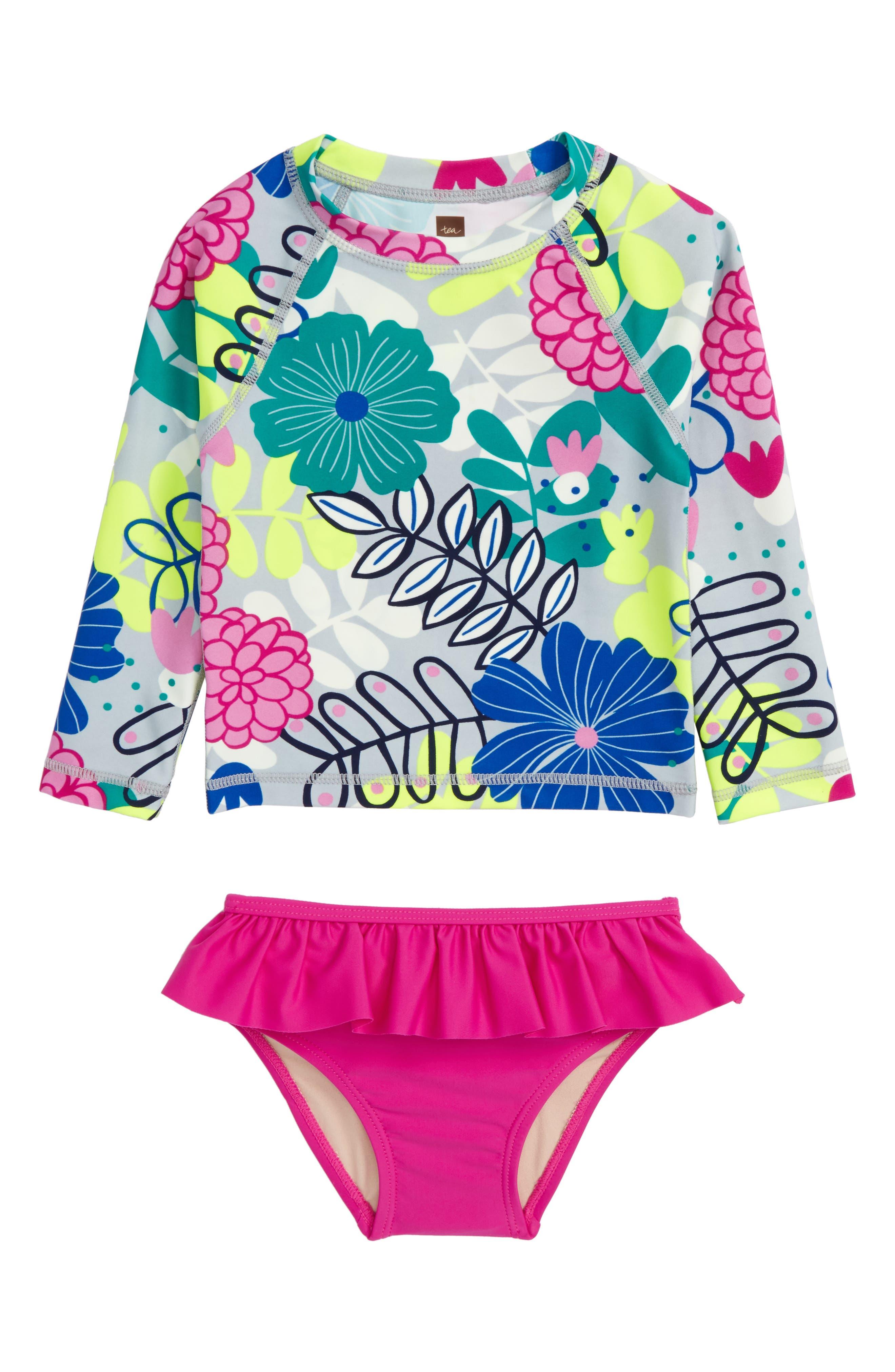 Two-Piece Rashguard Swimsuit,                             Main thumbnail 1, color,                             Colorful Bouquet