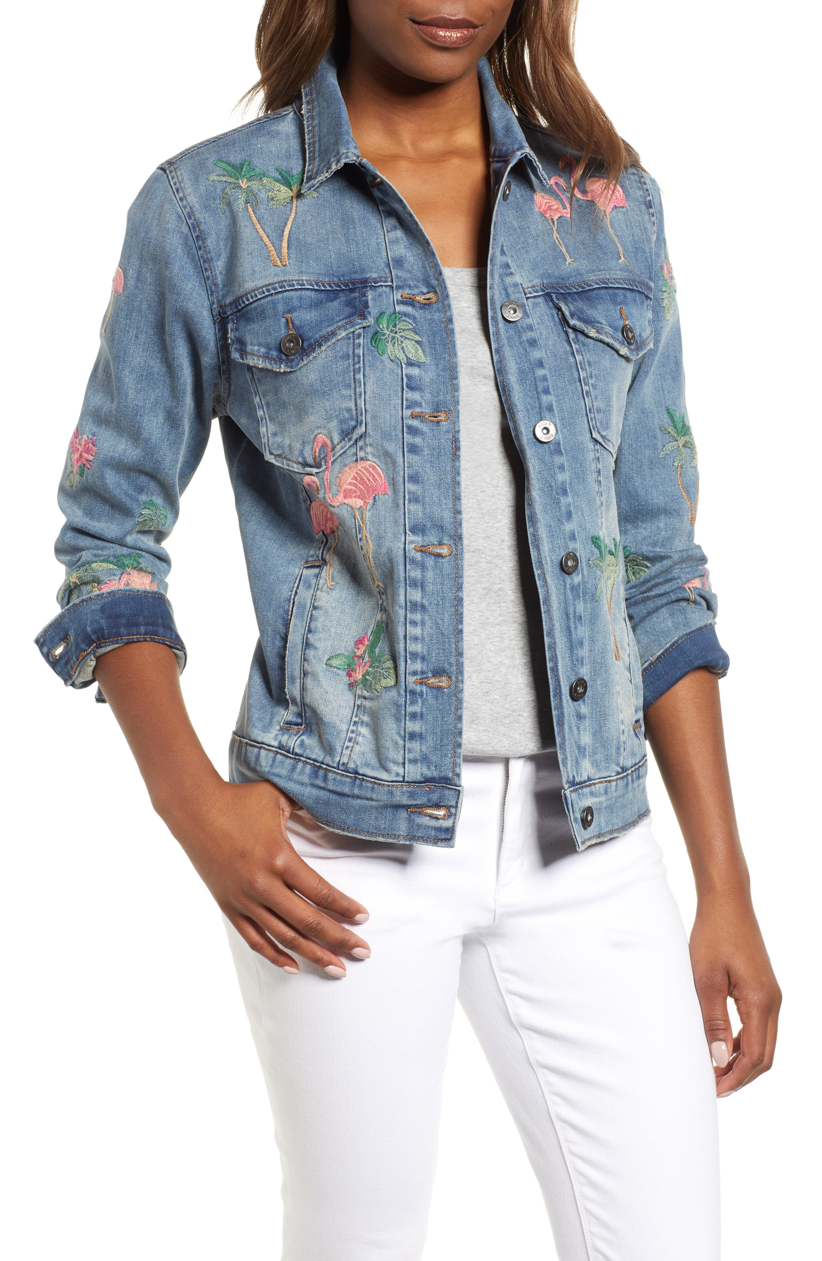 Flamingo Embroidered Denim Jacket,                             Main thumbnail 1, color,                             Blue W/ Embroider