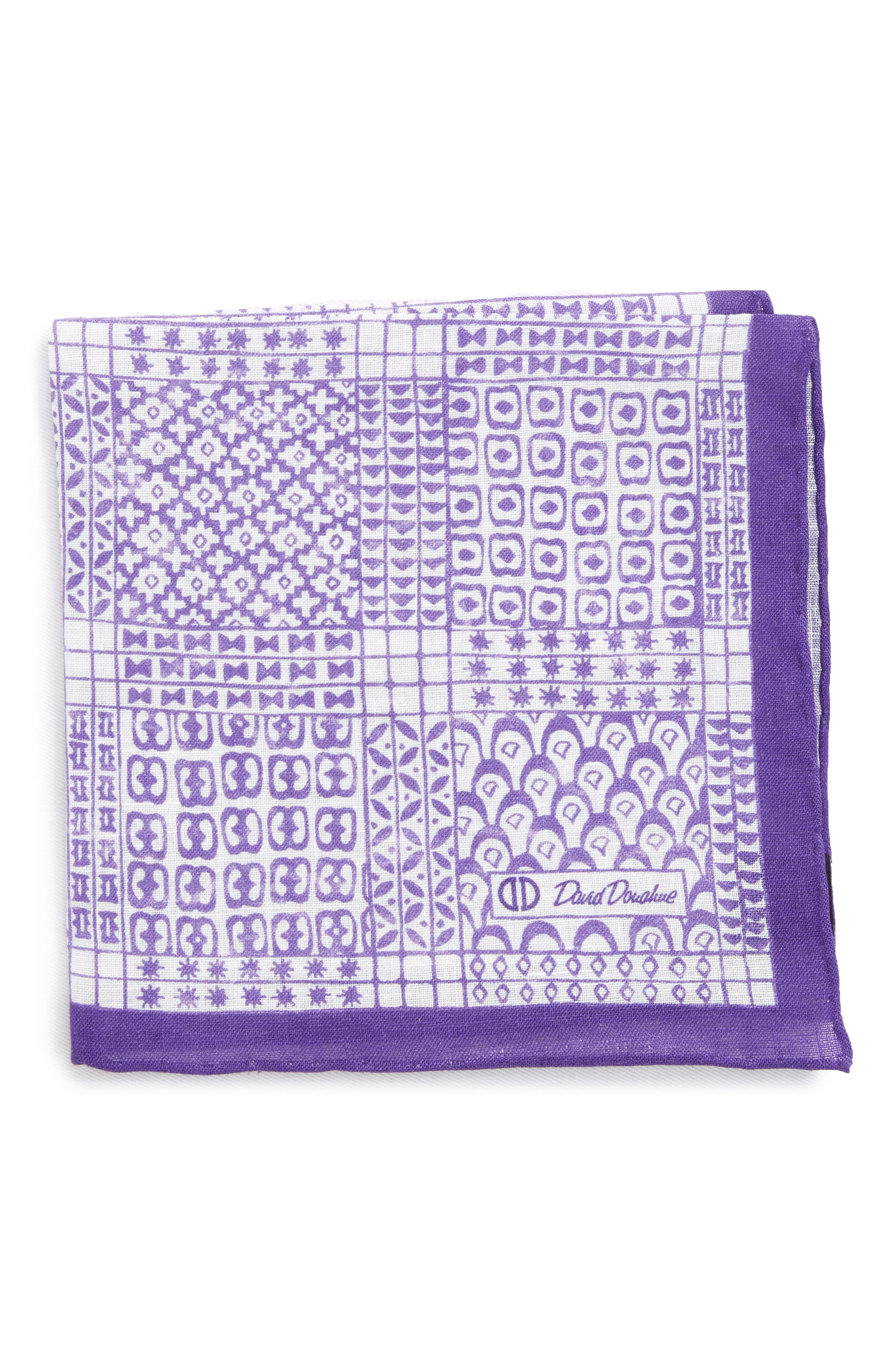 Neat Linen Pocket Square,                             Main thumbnail 1, color,                             Purple