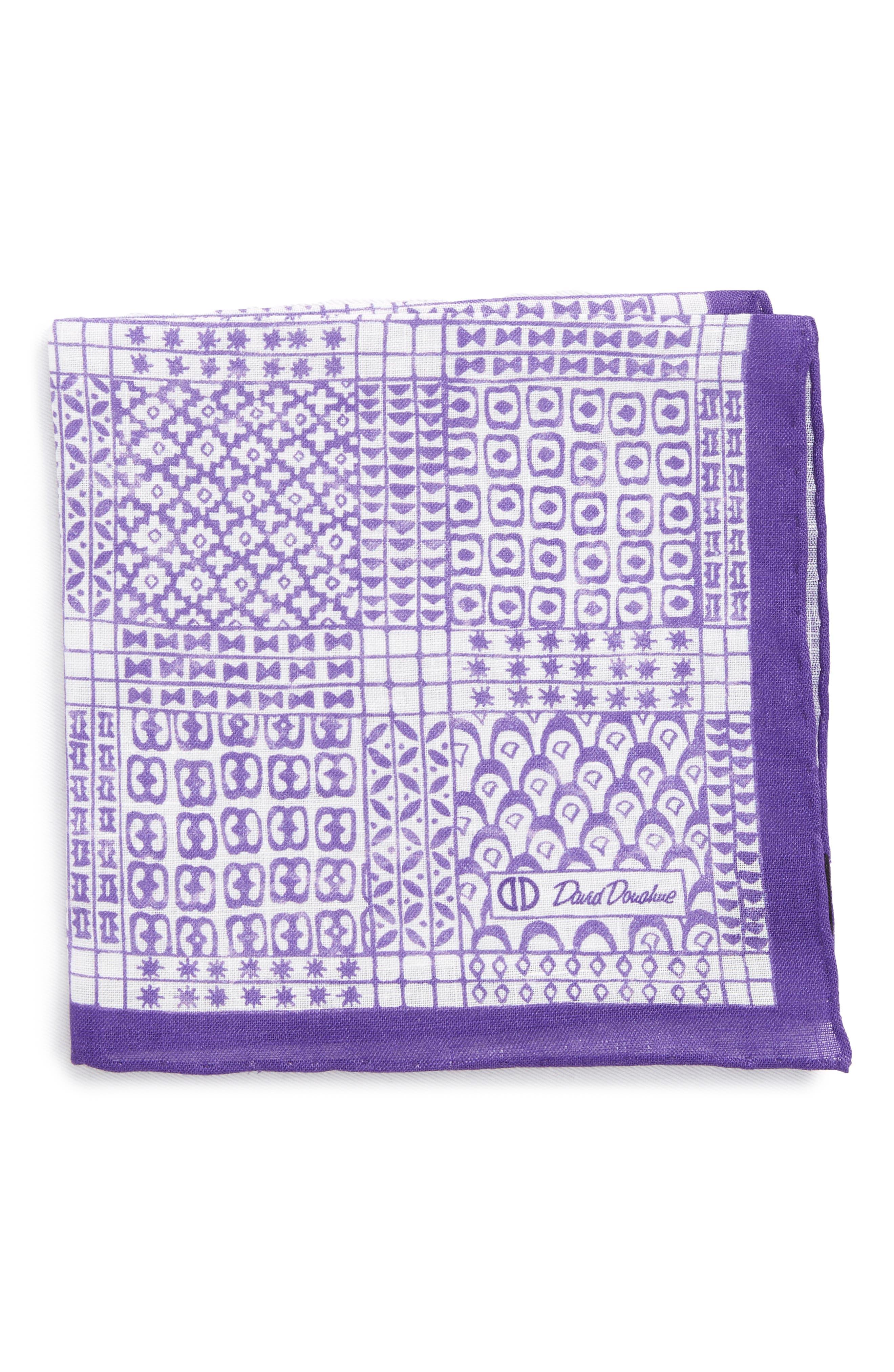 Neat Linen Pocket Square,                         Main,                         color, Purple