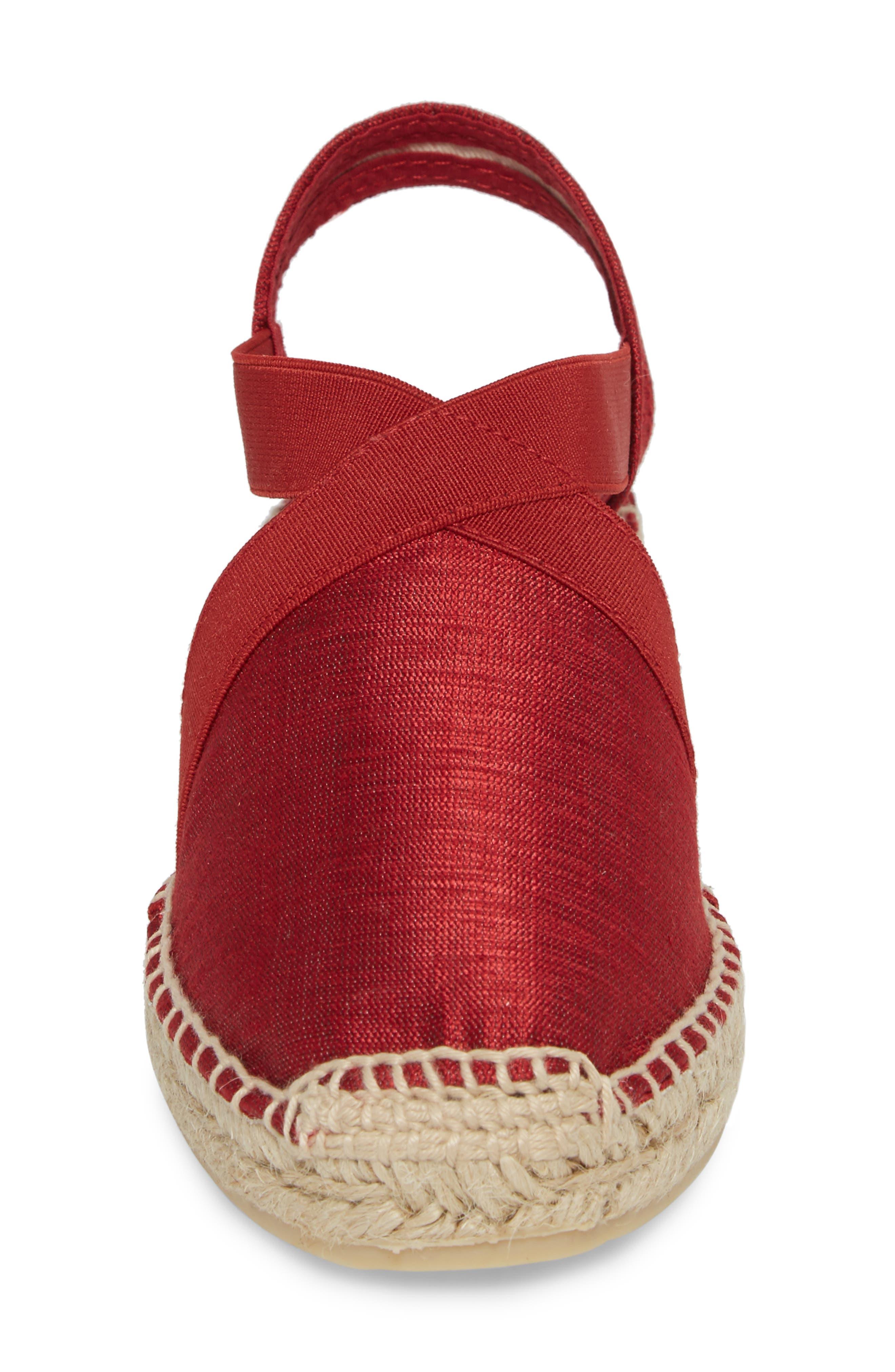 'Vic' Espadrille Slingback Sandal,                             Alternate thumbnail 4, color,                             Red Fabric