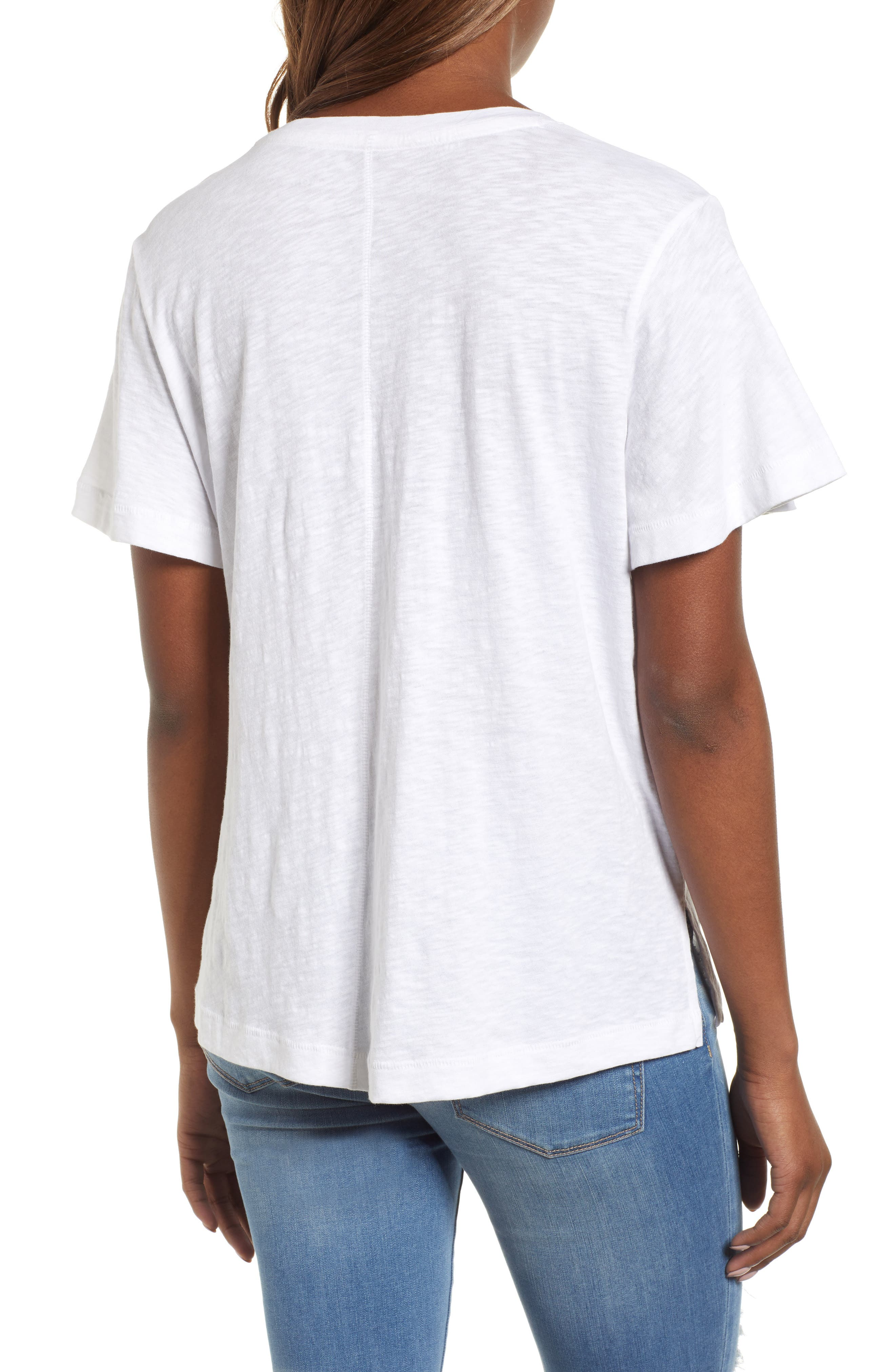Embroidered Tee,                             Alternate thumbnail 2, color,                             White- Red Lucille