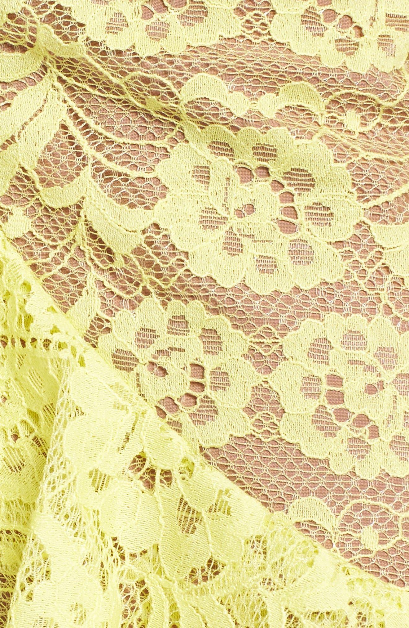 Tati Lace Minidress,                             Alternate thumbnail 5, color,                             Lemon
