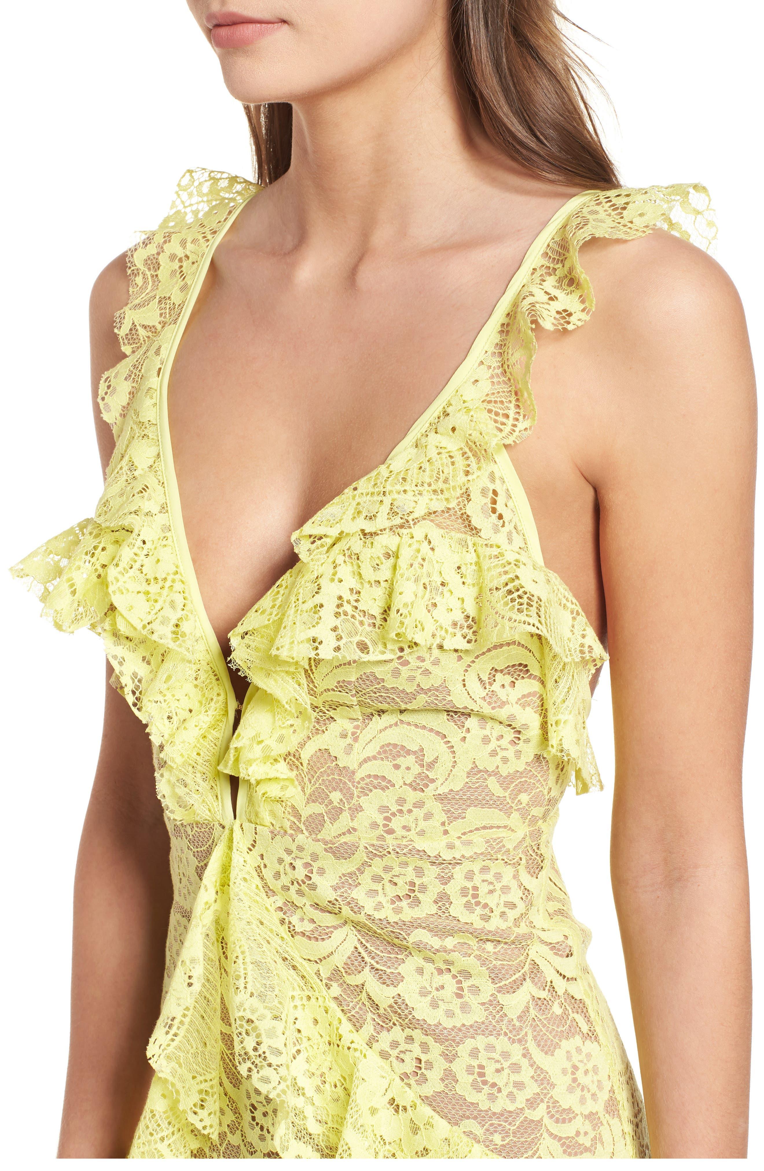Tati Lace Minidress,                             Alternate thumbnail 4, color,                             Lemon