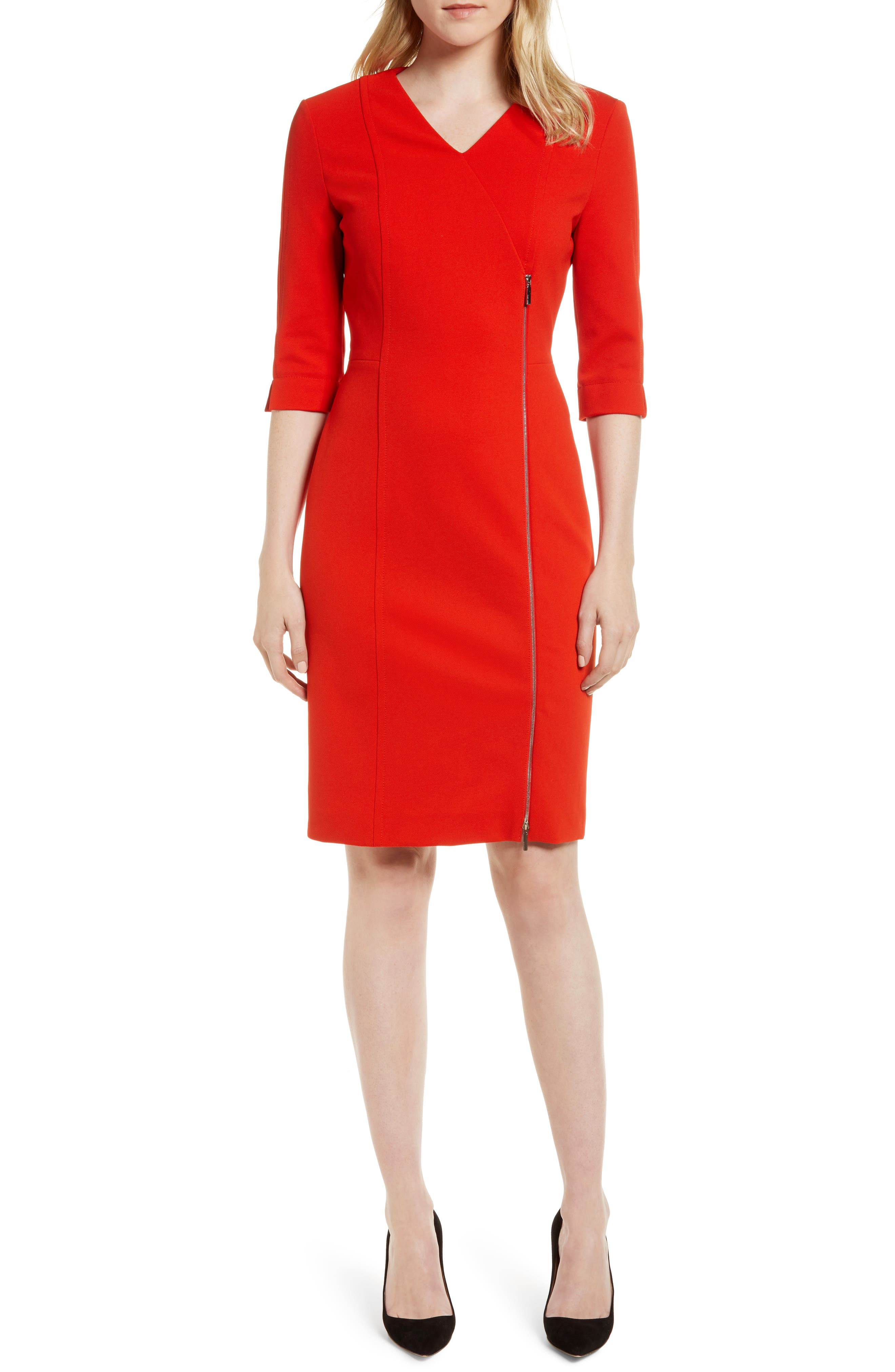 Deazema Twill Jersey Dress,                         Main,                         color, Sunset Orange