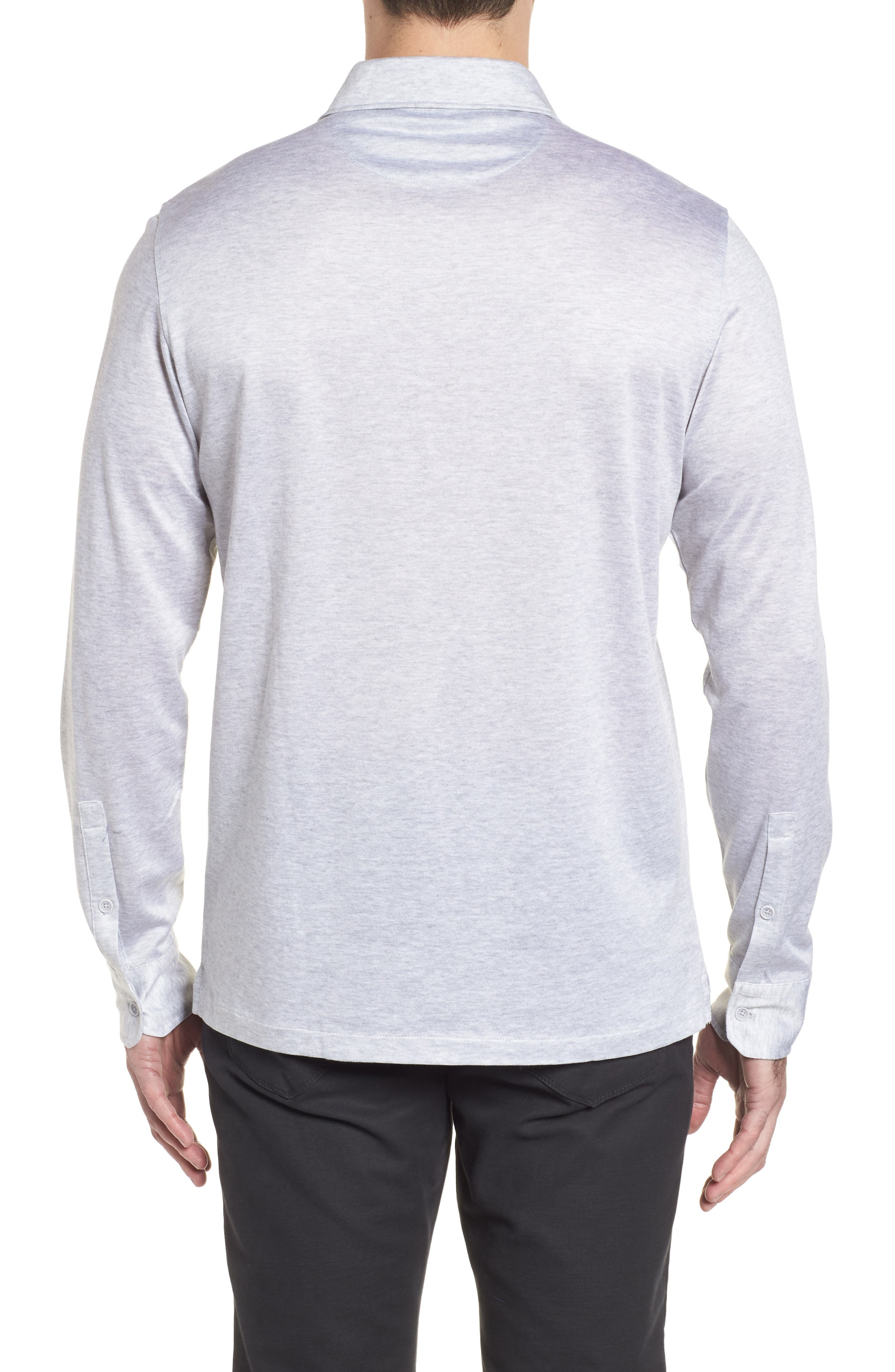 Regular Fit Silk Blend Sport Shirt,                             Alternate thumbnail 2, color,                             Platinum