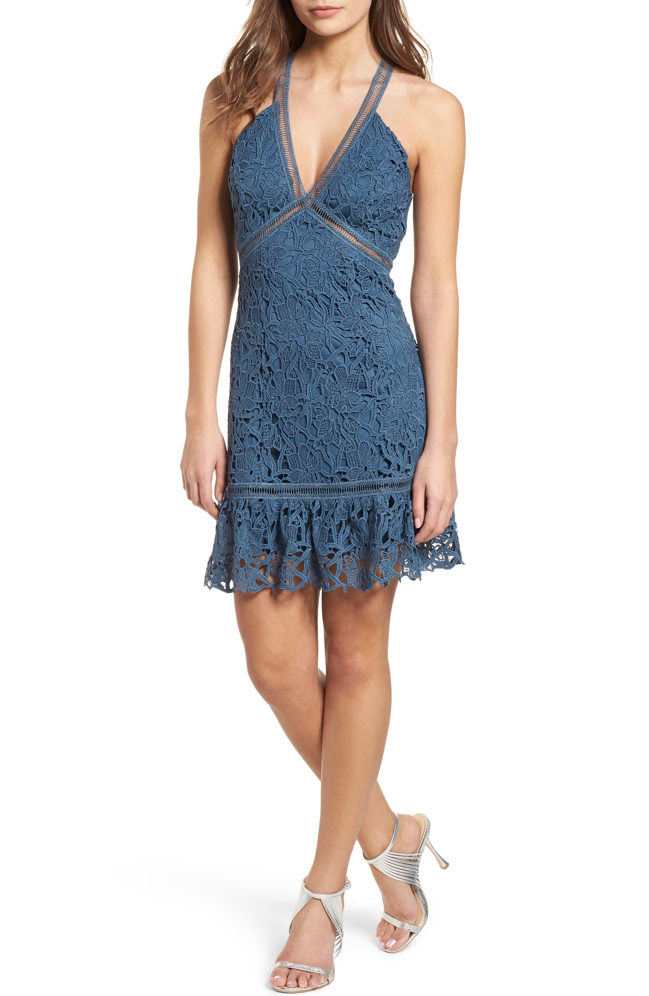 Ruffle Hem Lace Dress,                             Main thumbnail 1, color,                             Dusty Teal