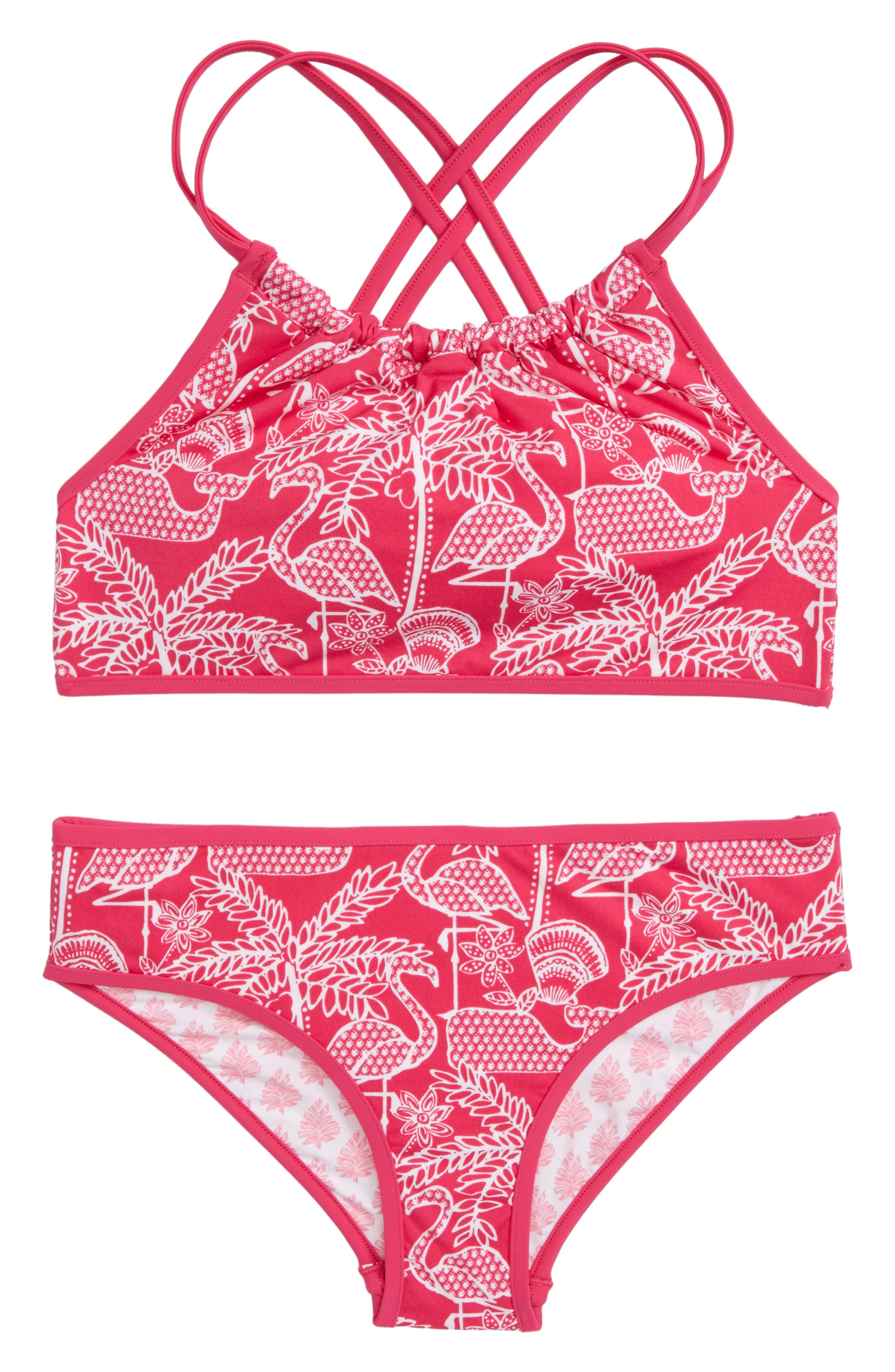 Flamingo Print Reversible Two-Piece Halter Swimsuit,                             Main thumbnail 1, color,                             Rhododendron