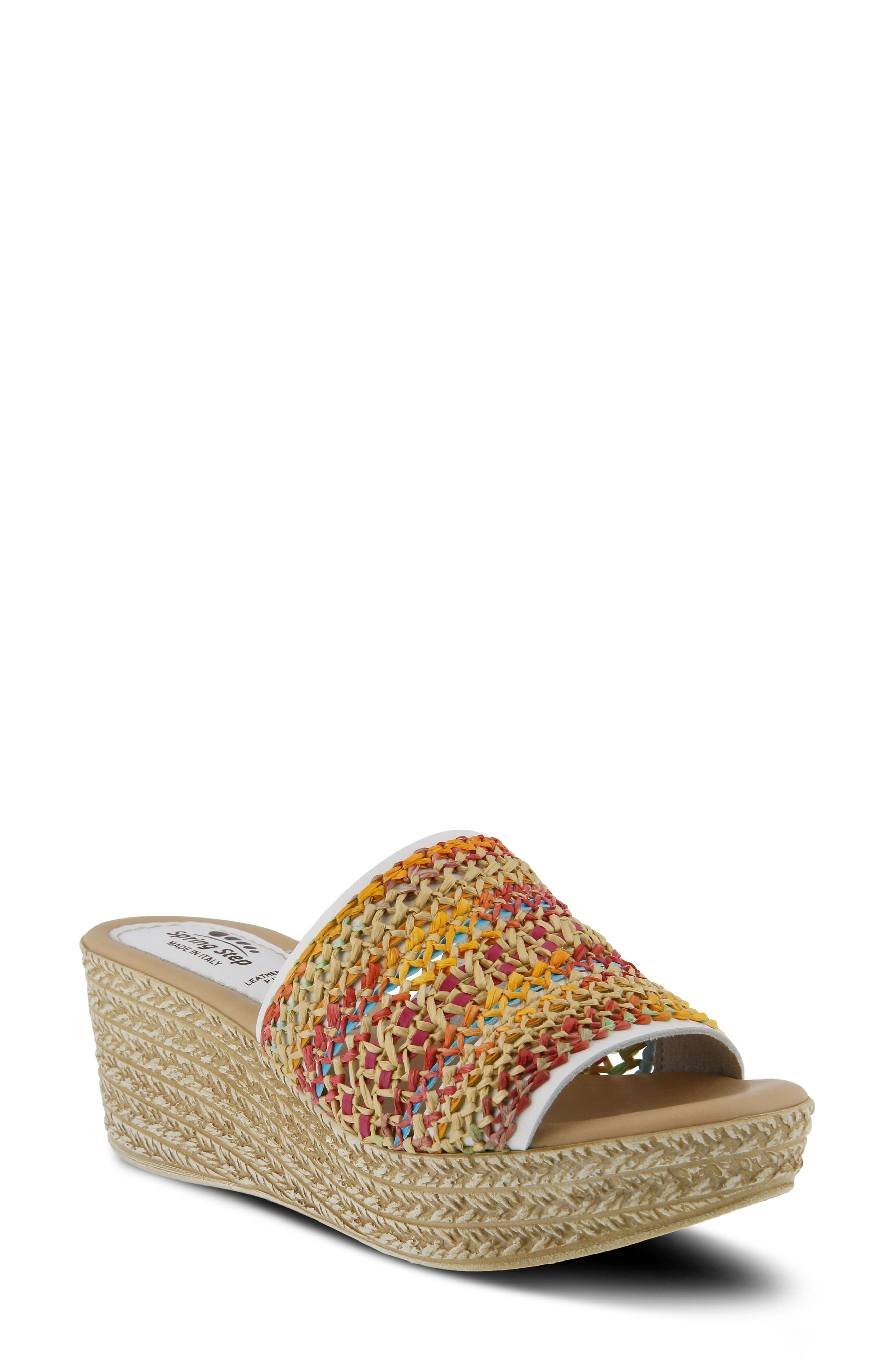 Calci Espadrille Wedge Sandal,                         Main,                         color, White Leather