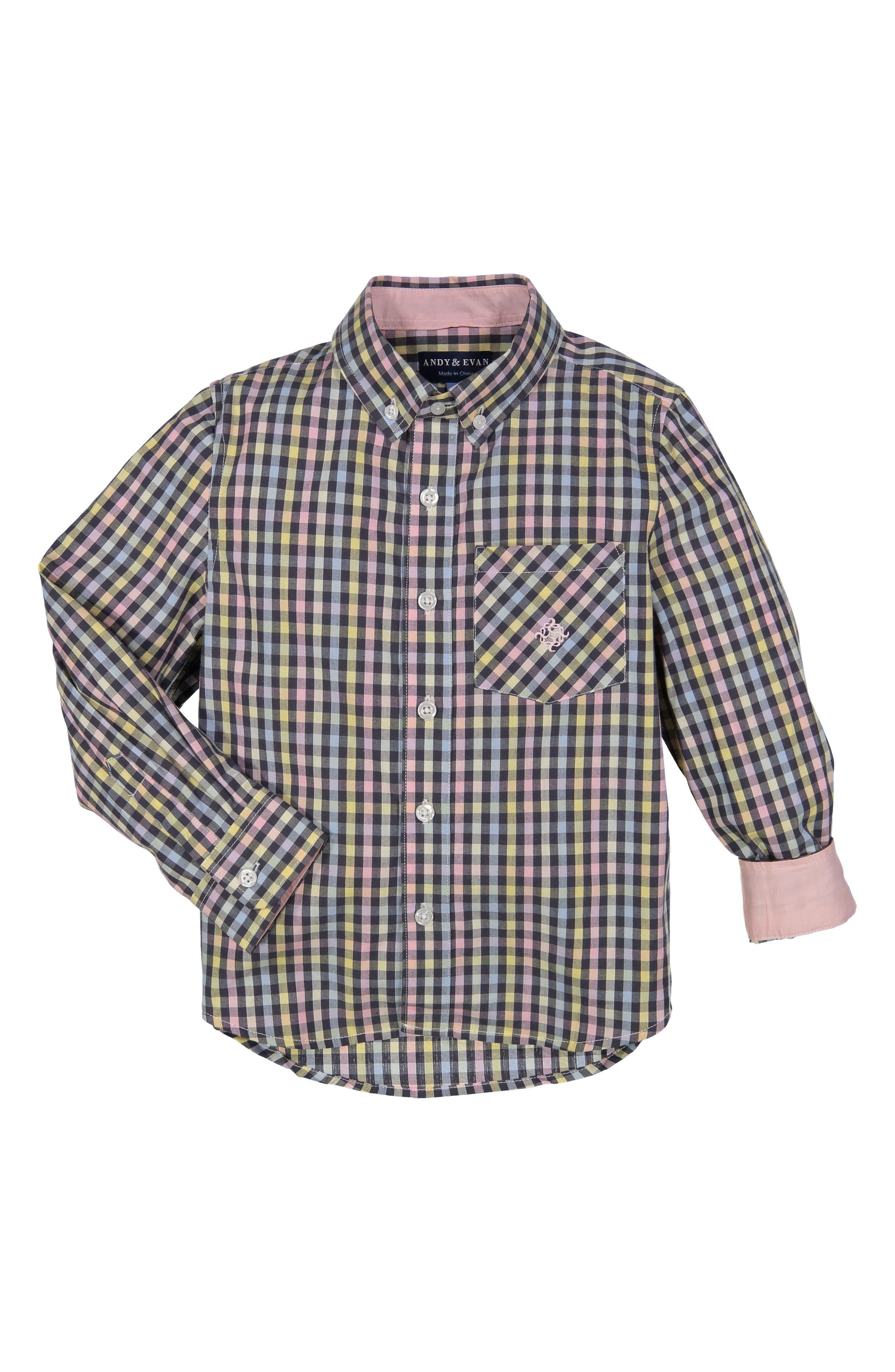 Gingham Check Woven Shirt,                             Main thumbnail 1, color,                             Light/ Pastel Pink