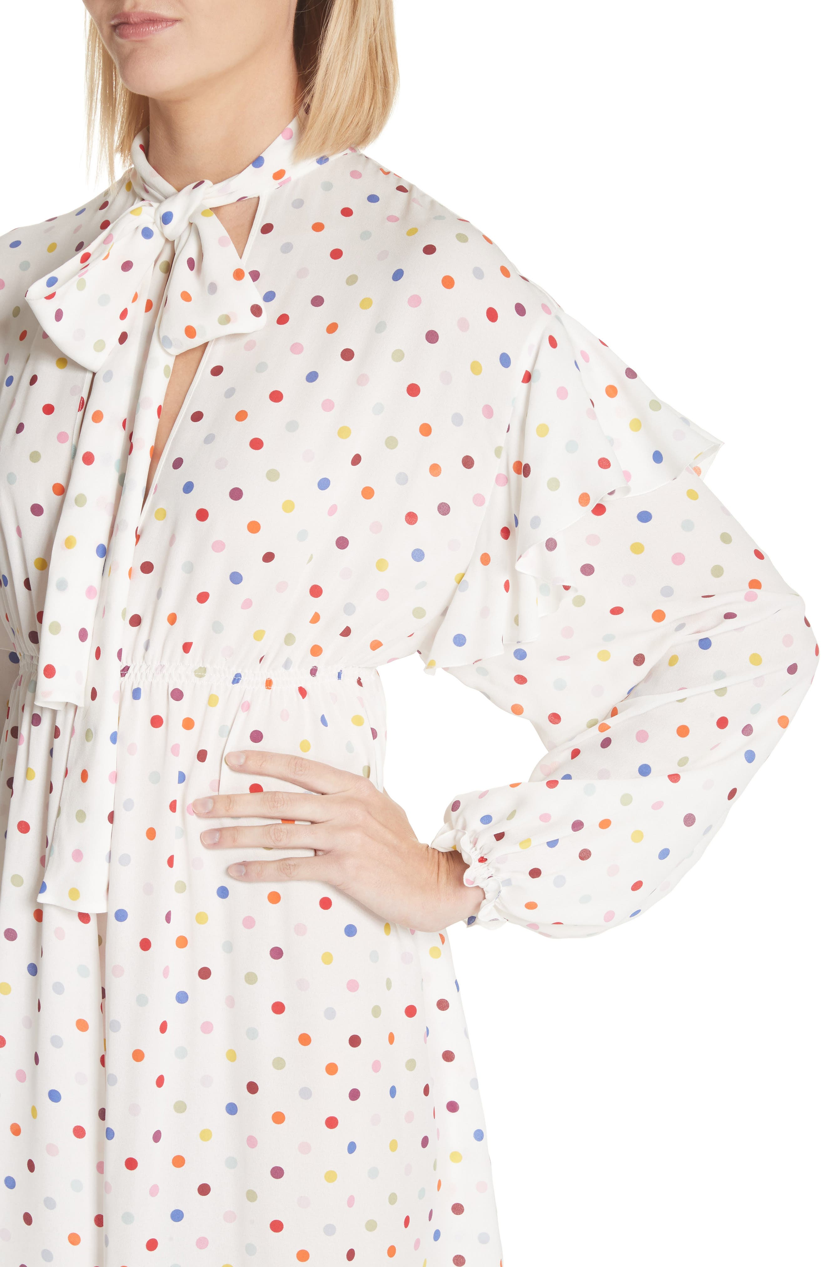Polka Dot Silk Georgette Dress,                             Alternate thumbnail 4, color,                             Ivory