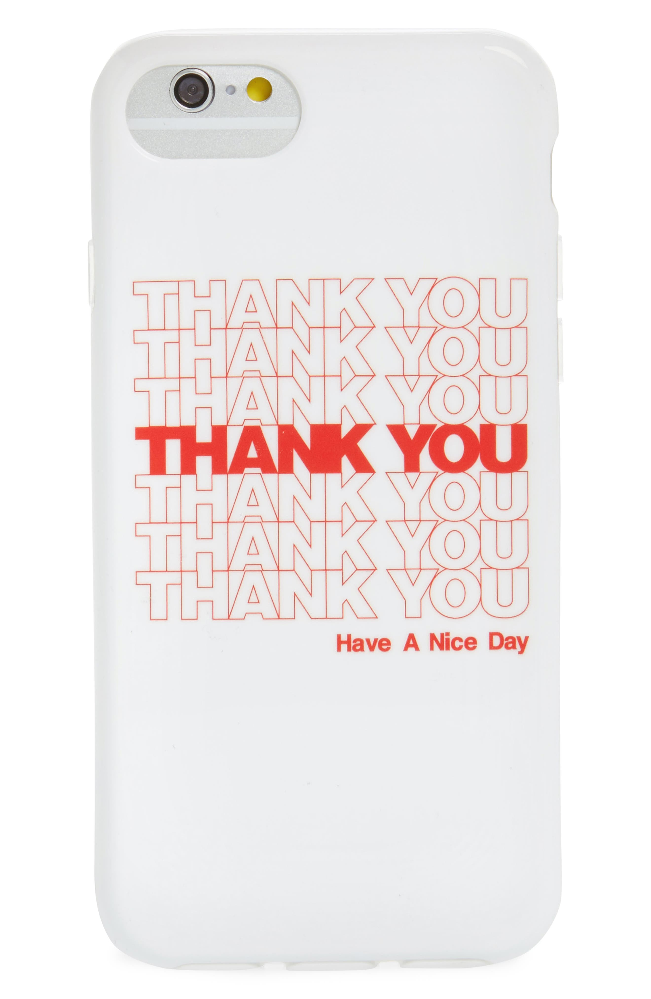Thank You iPhone 6/7/8 Case,                         Main,                         color, White/ Red