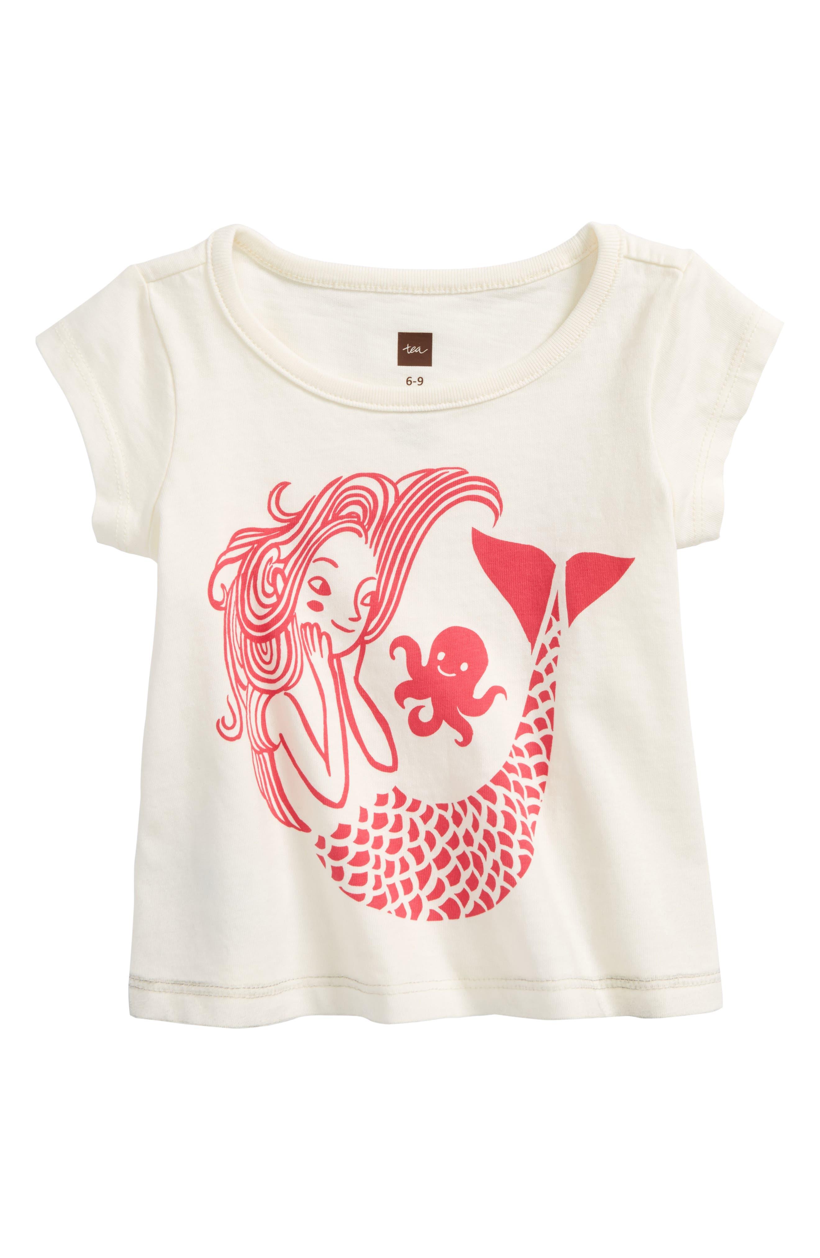 Mermaid Graphic Tee,                         Main,                         color, Chalk