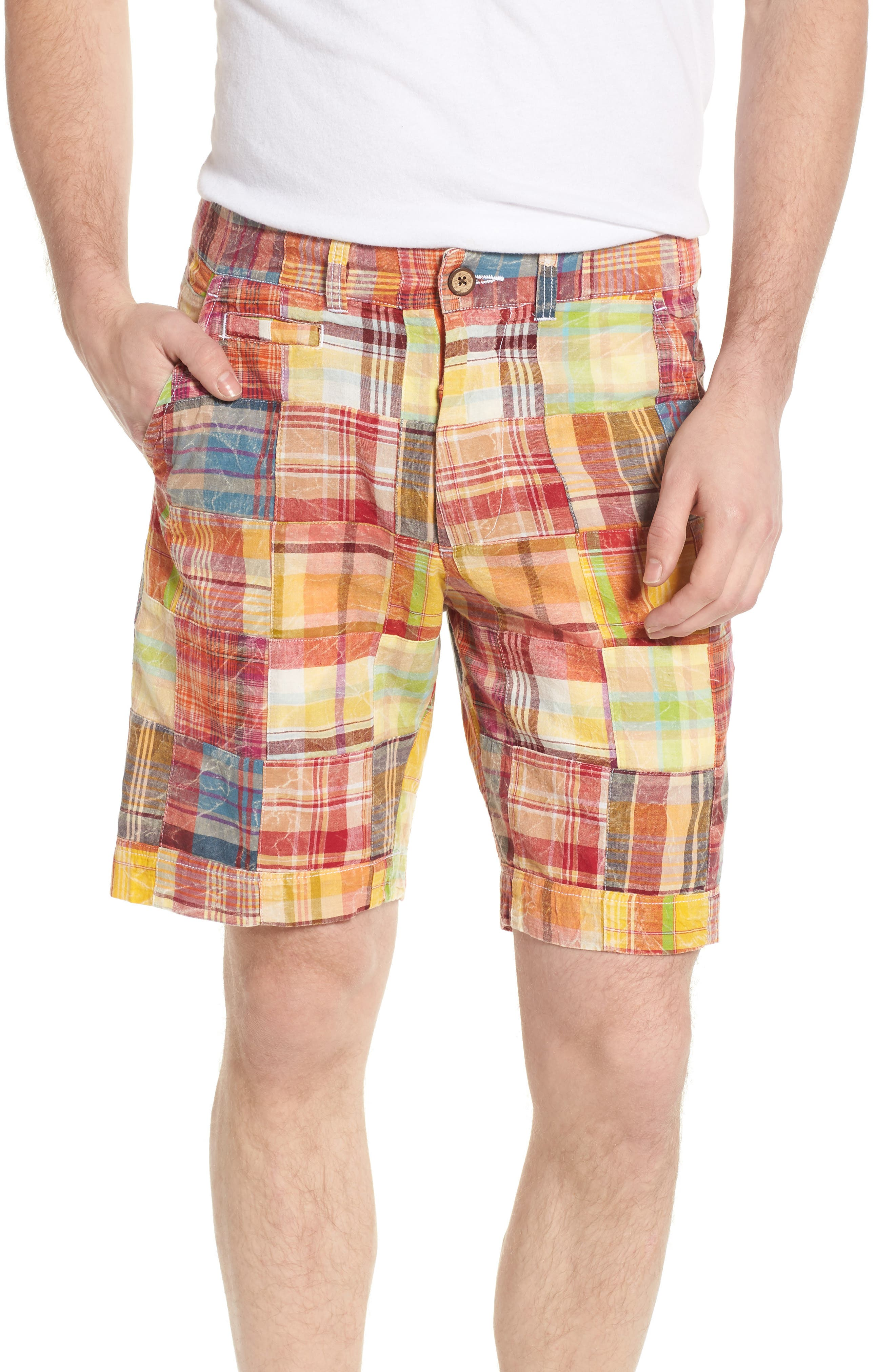 Acid Wash Plaid Patchwork Shorts,                             Main thumbnail 1, color,                             Orange