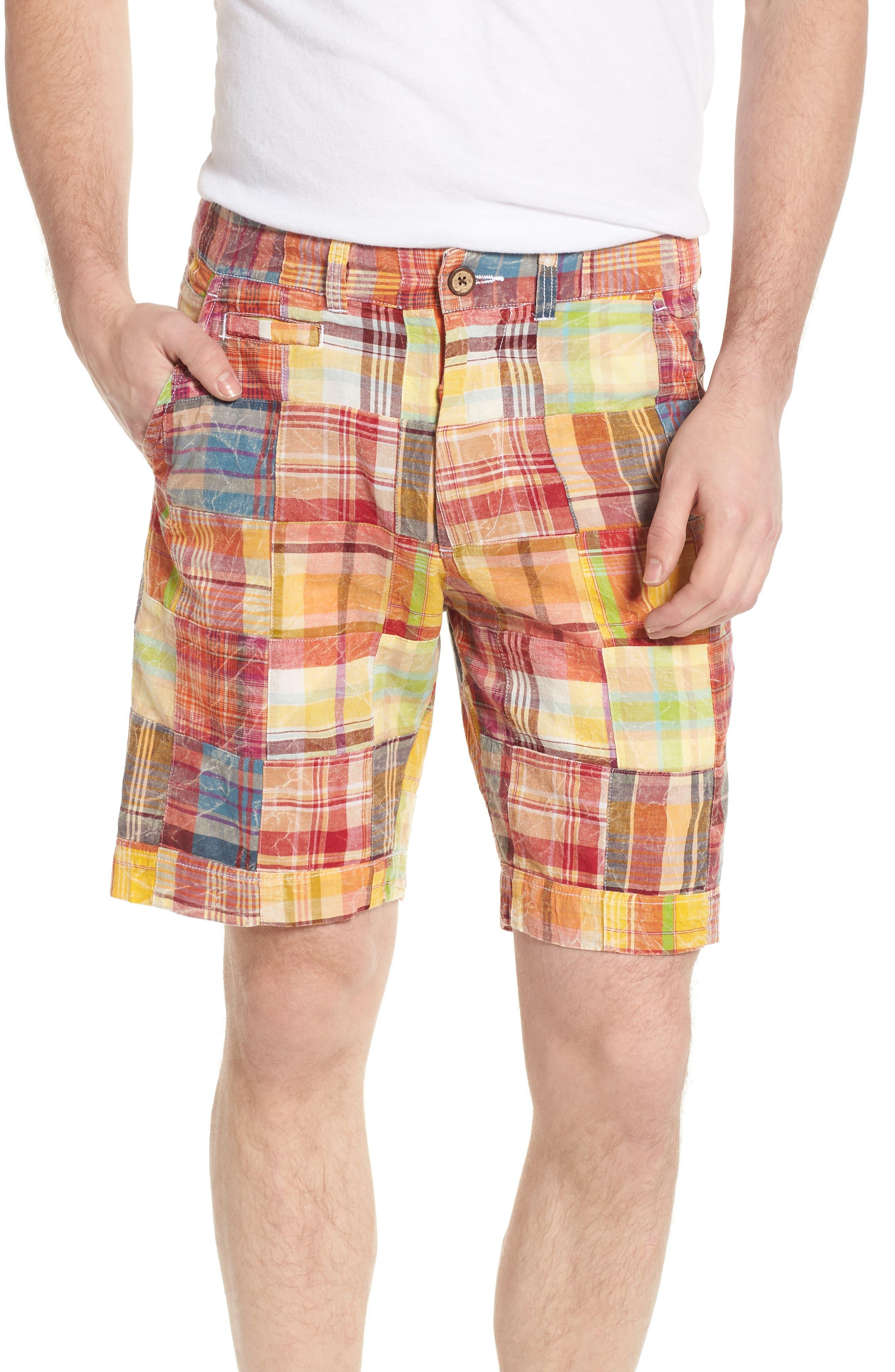 Acid Wash Plaid Patchwork Shorts,                         Main,                         color, Orange