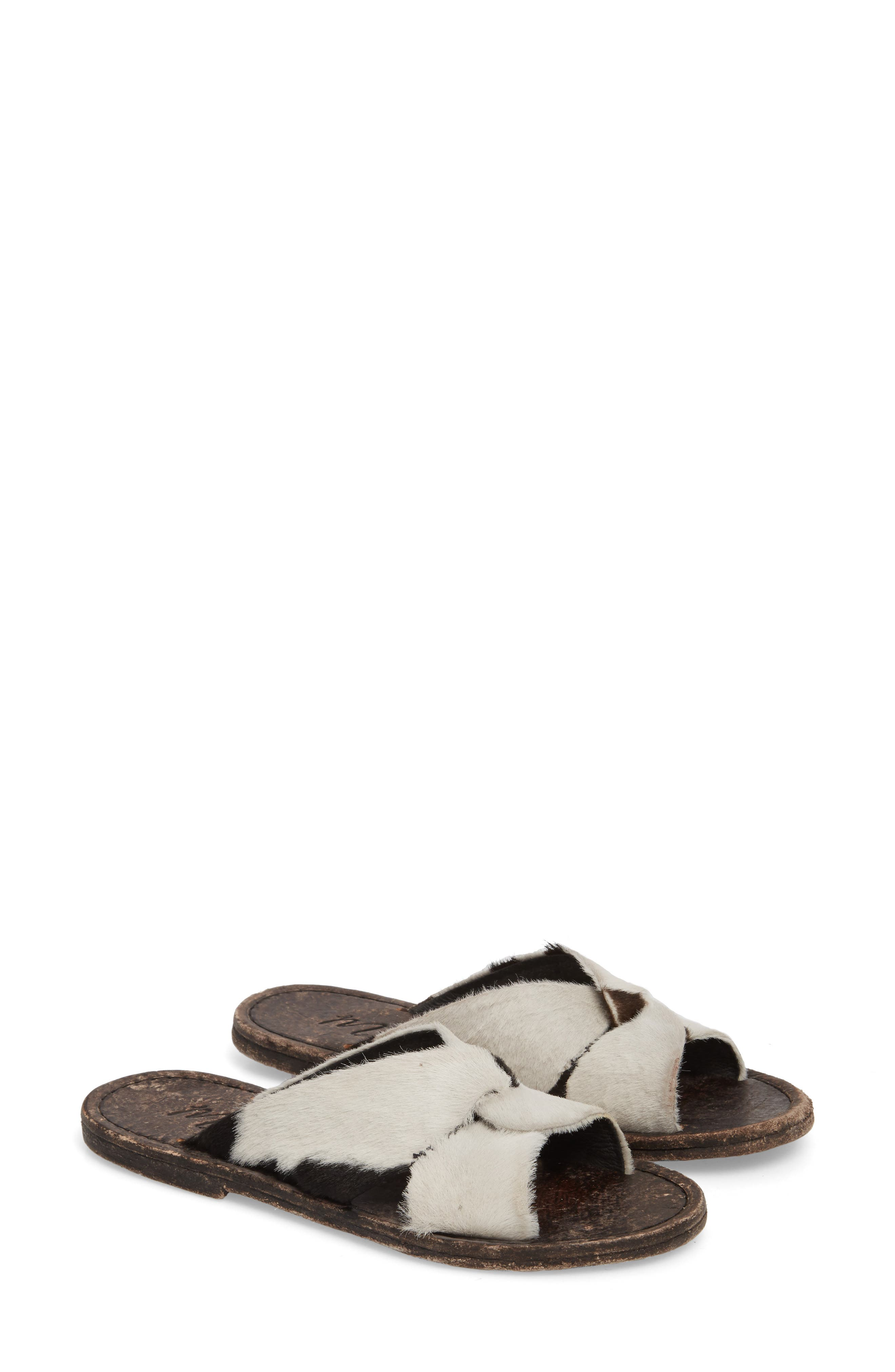 Alamosa Genuine Calf Hair Sandal,                         Main,                         color, Black/ White