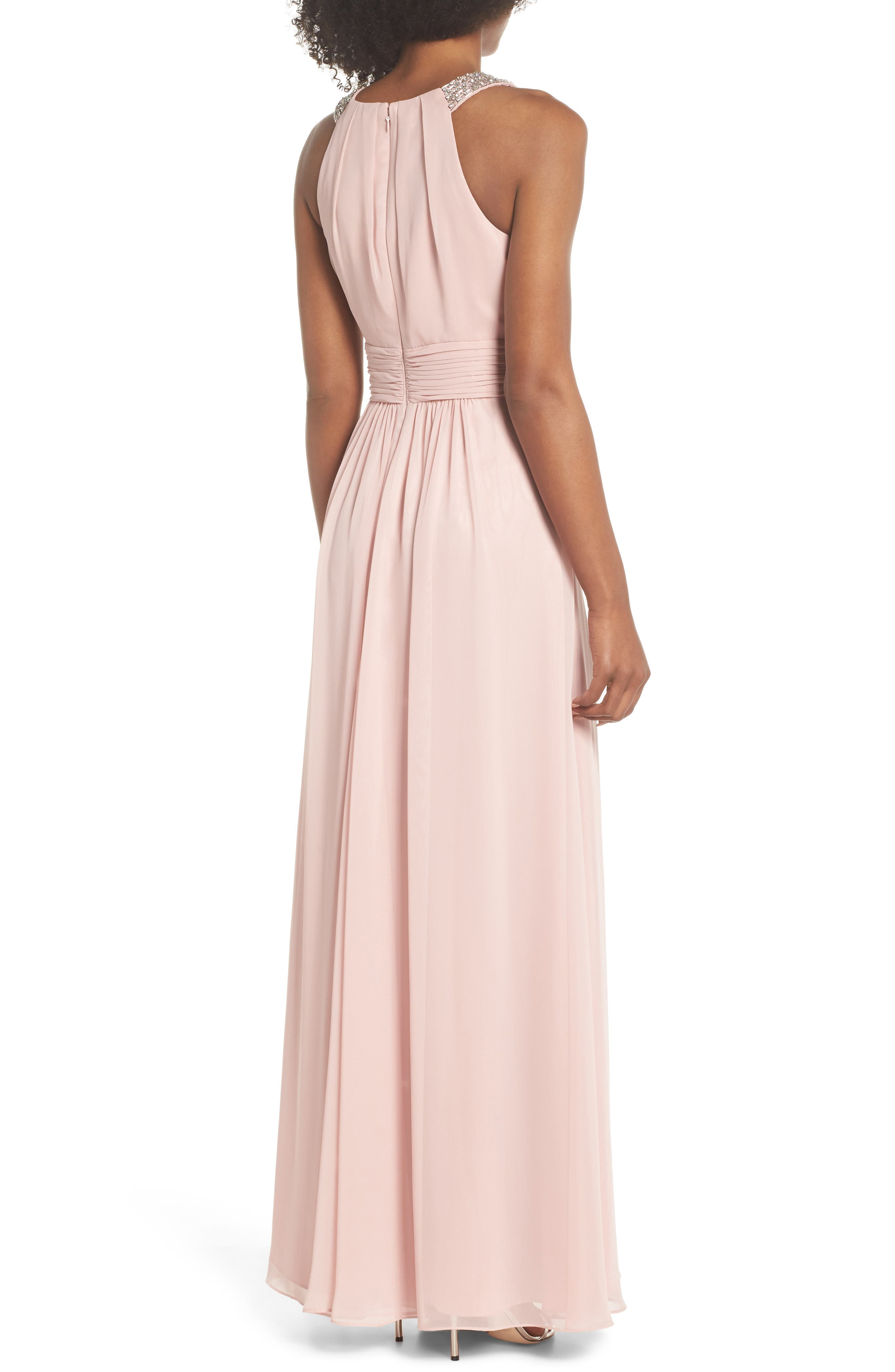Beaded Halter Gown,                             Alternate thumbnail 2, color,                             Blush