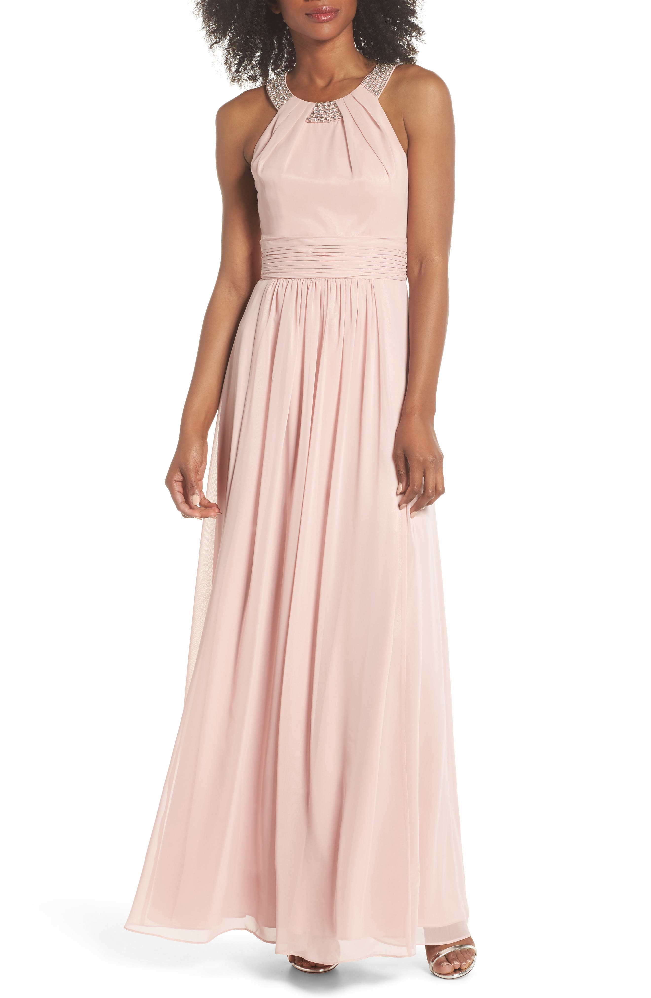 Beaded Halter Gown,                             Main thumbnail 1, color,                             Blush