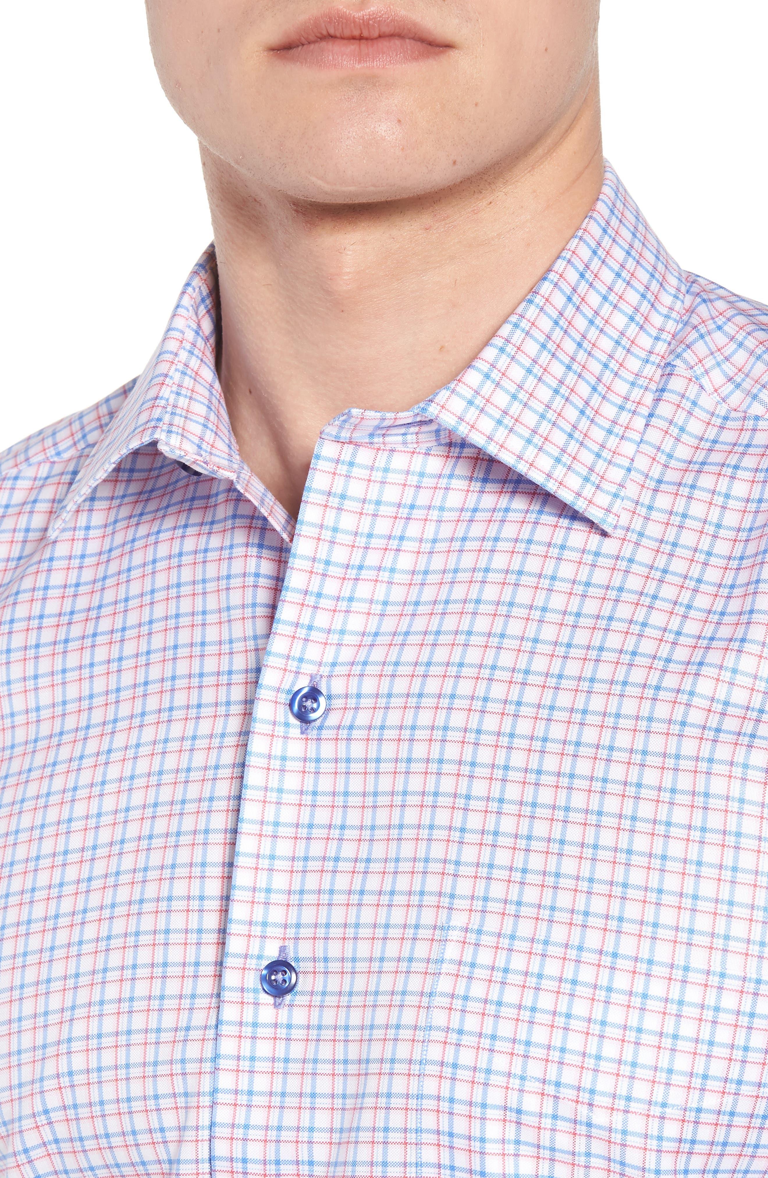Regular Fit Check Sport Shirt,                             Alternate thumbnail 4, color,                             Blue/ Pink
