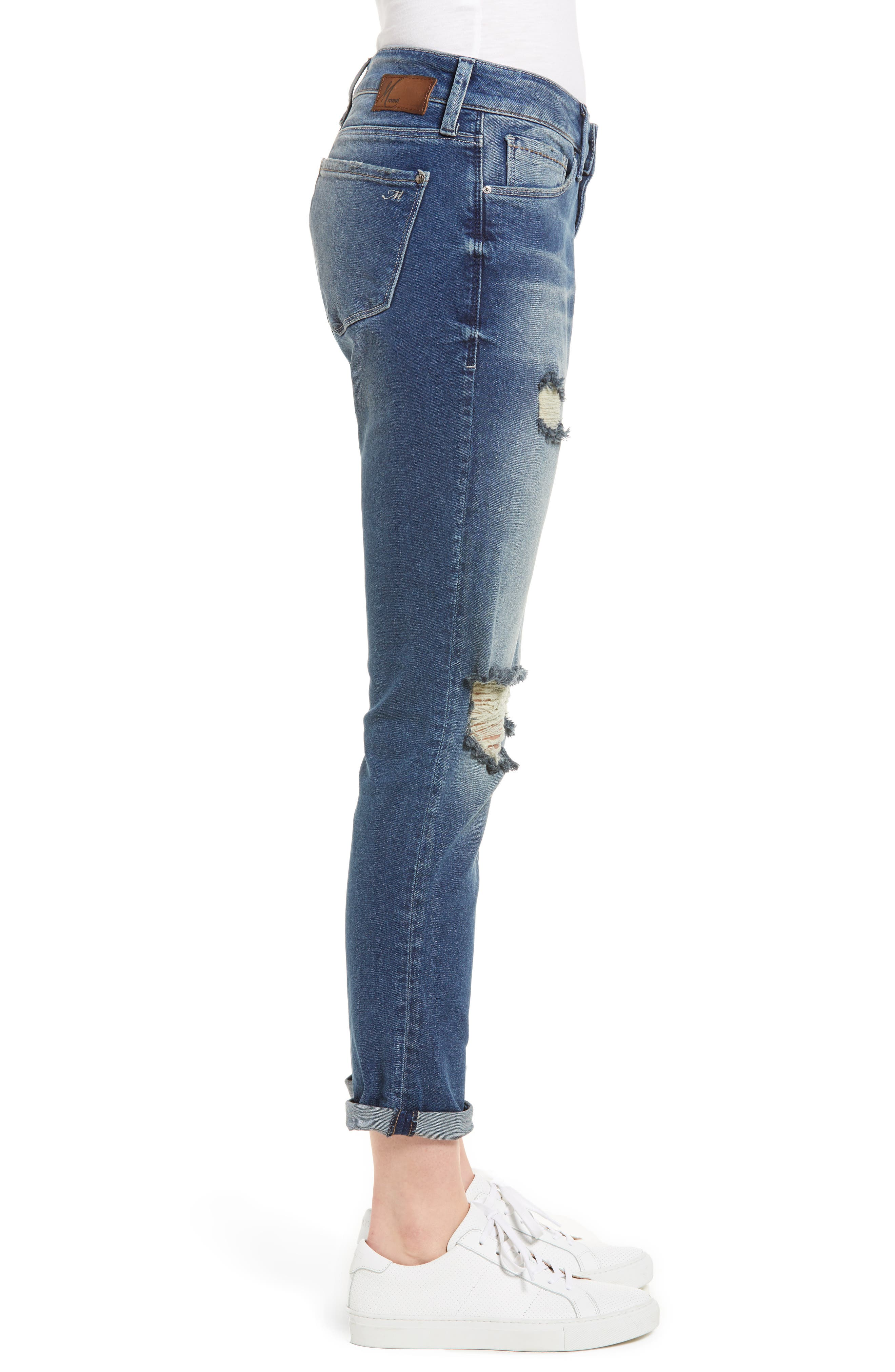 Ada Ripped Boyfriend Jeans,                             Alternate thumbnail 3, color,                             Mid Ripped Vintage