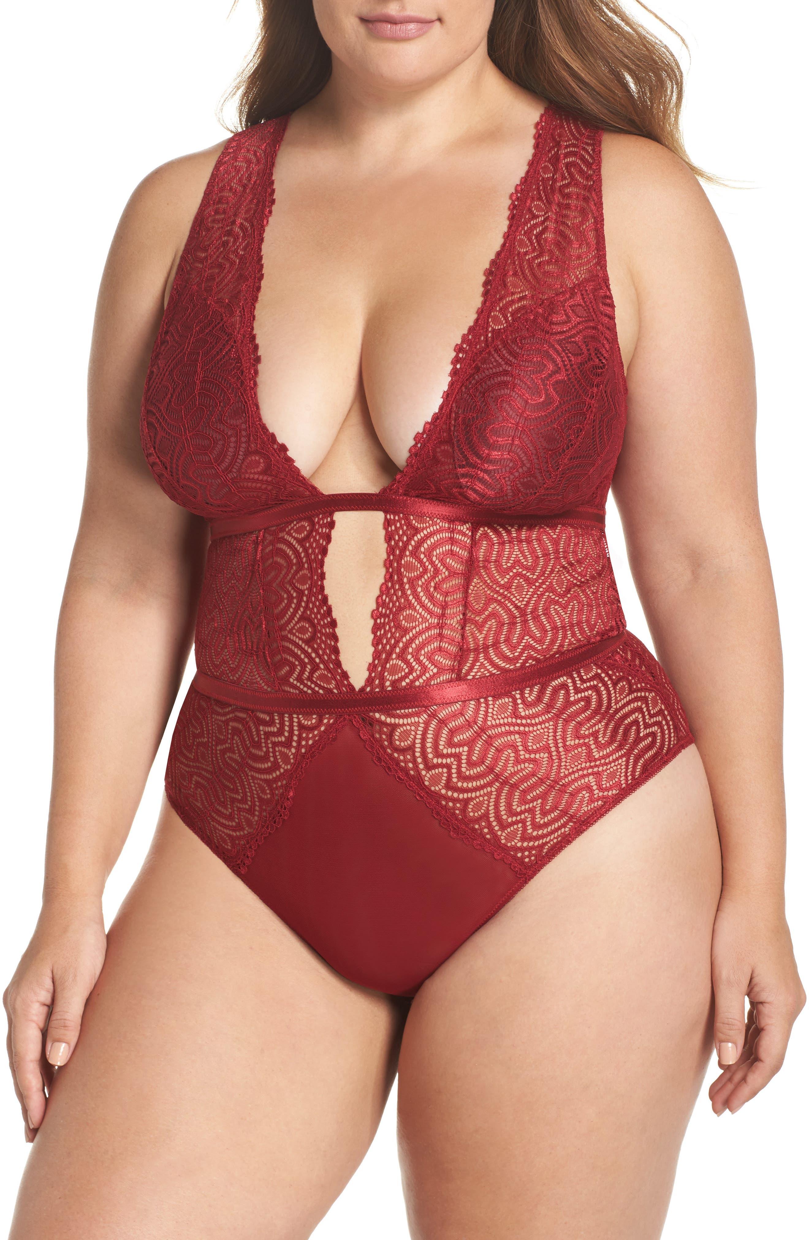 Oh La La Cheri Lucette Edgy Lace Plunge Bodysuit (Plus Size)