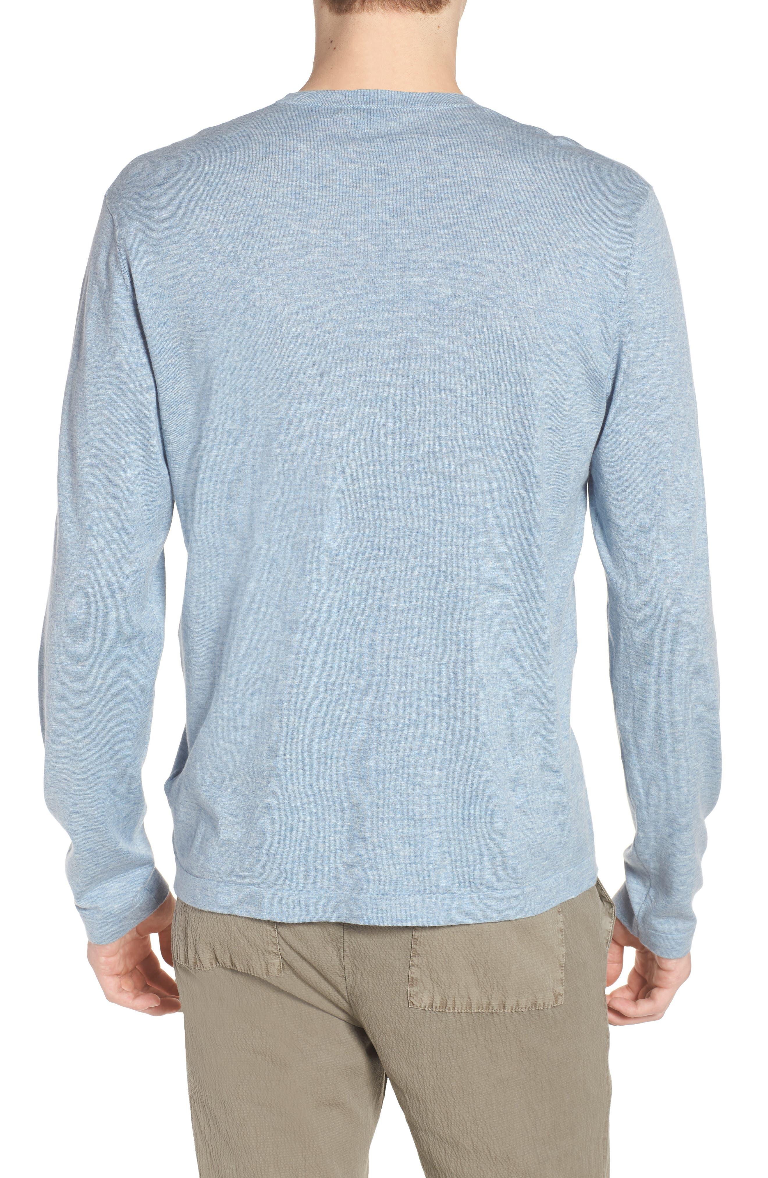 Fine Gauge Crewneck Sweater,                             Alternate thumbnail 2, color,                             Heather Sky Blue