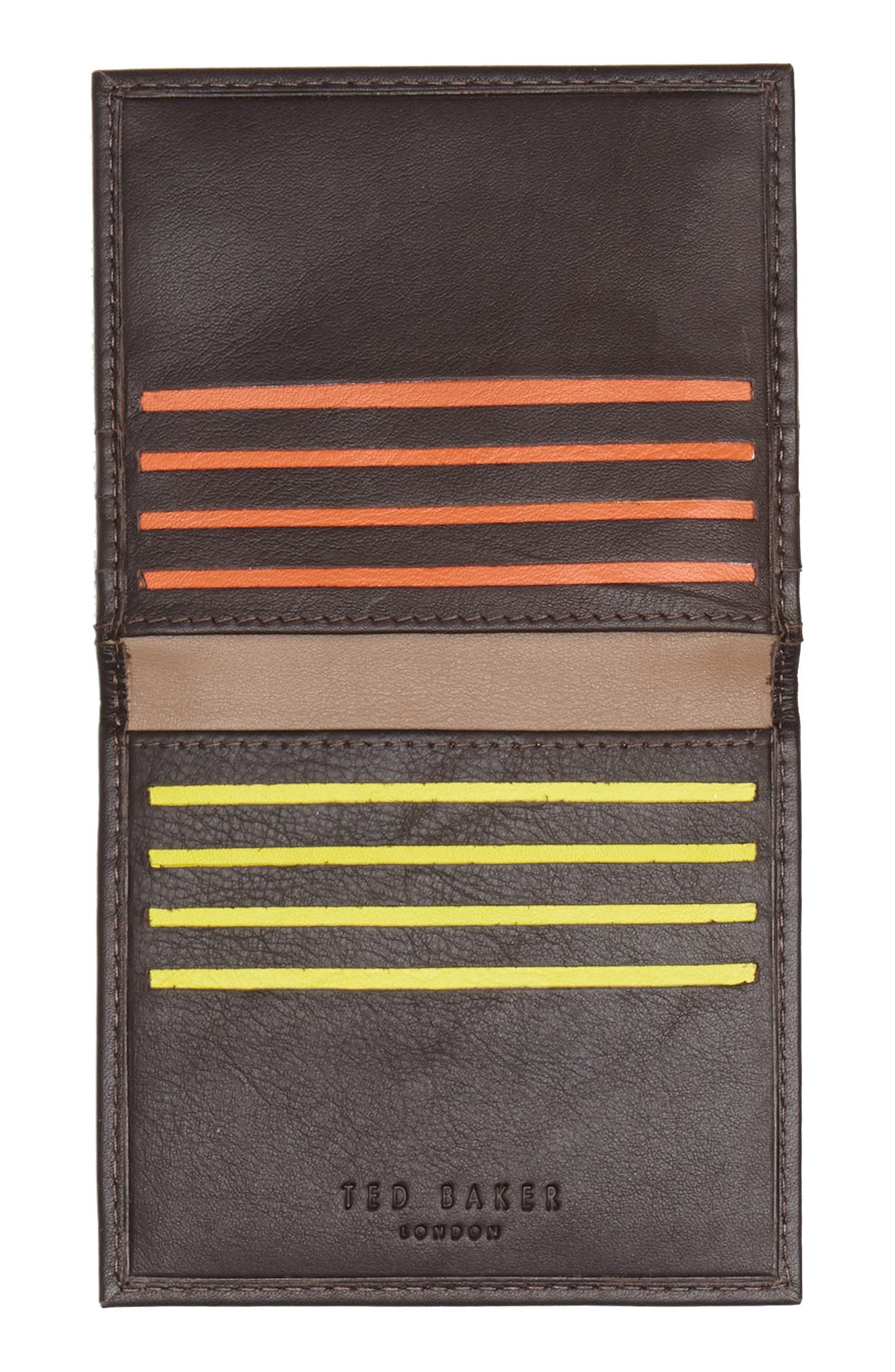 Foxes Stripe Leather Foldover Card Case,                             Alternate thumbnail 2, color,                             Chocolate