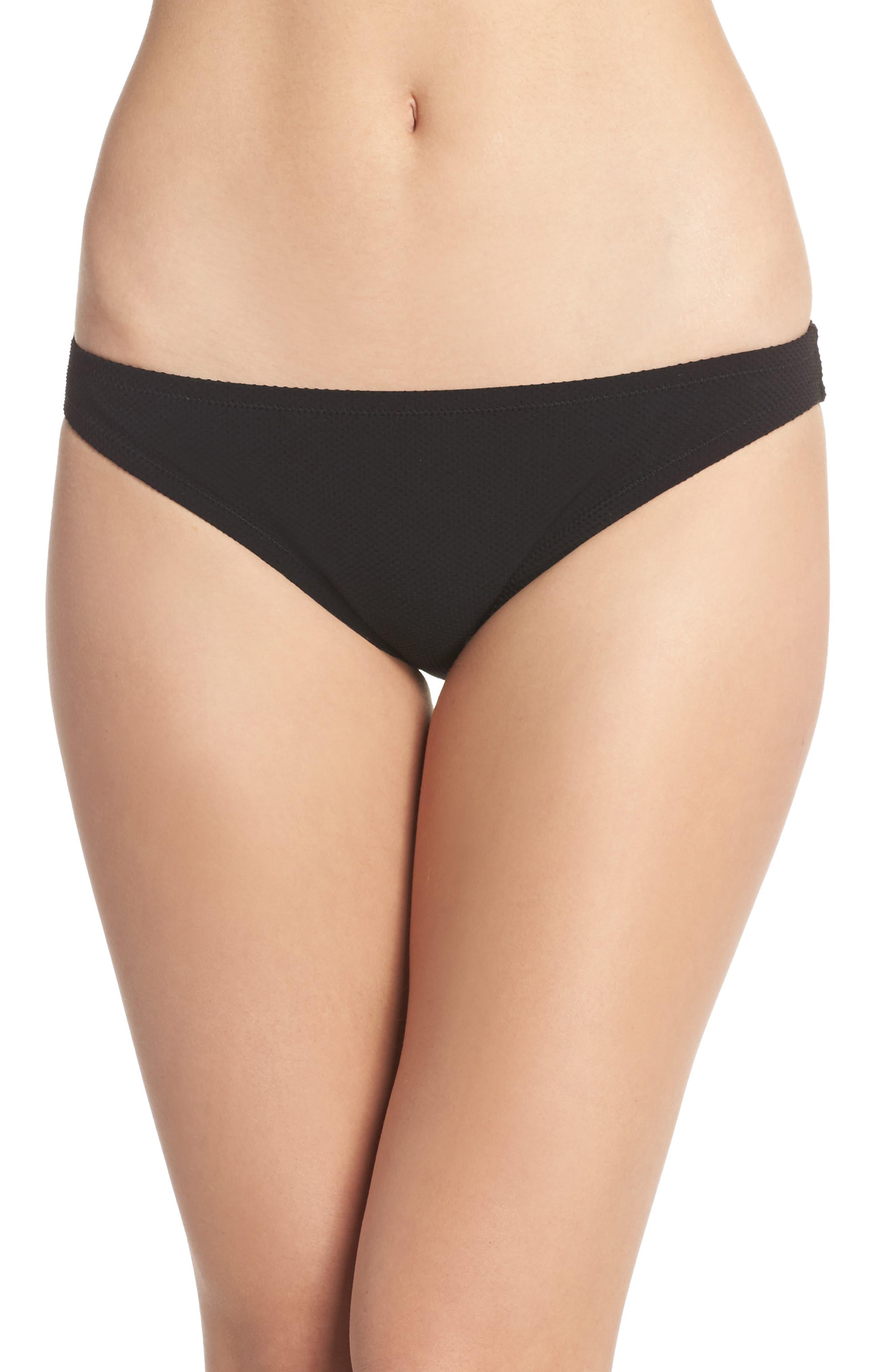 J.Crew Piqué Hipster Bikini Bottoms,                         Main,                         color, Black