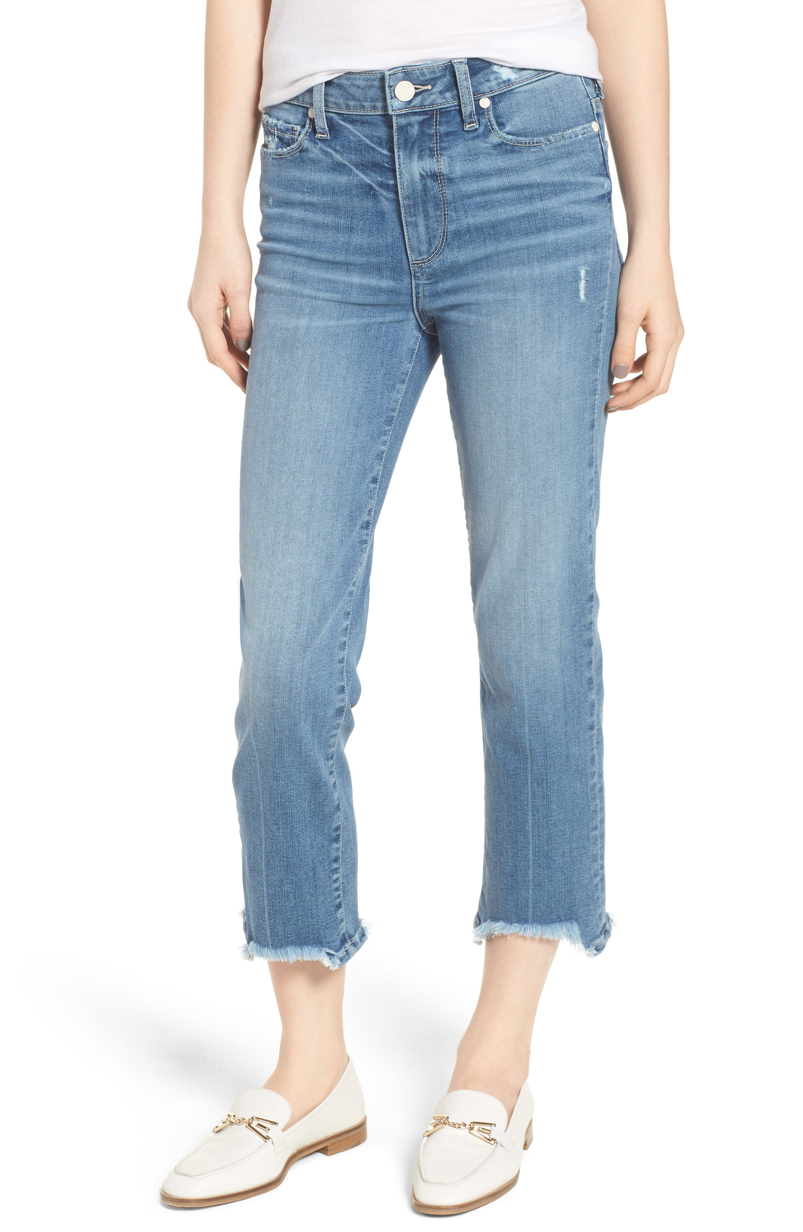 Transcend Vintage - Hoxton High Waist Crop Straight Leg Jeans,                             Main thumbnail 1, color,                             Zahara