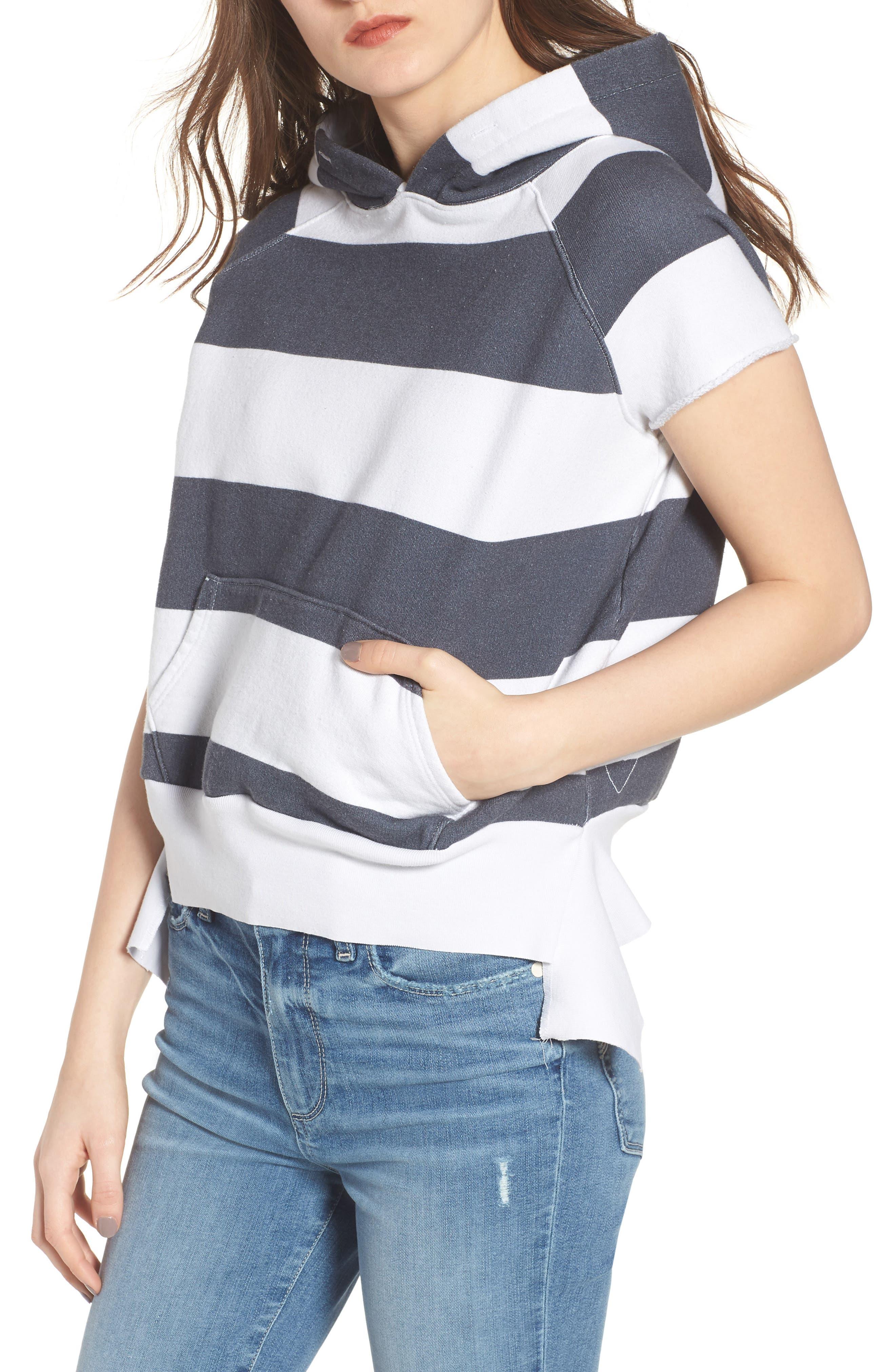 Frank & Eileen Tee Lab Stripe Short Sleeve Pullover Hoodie