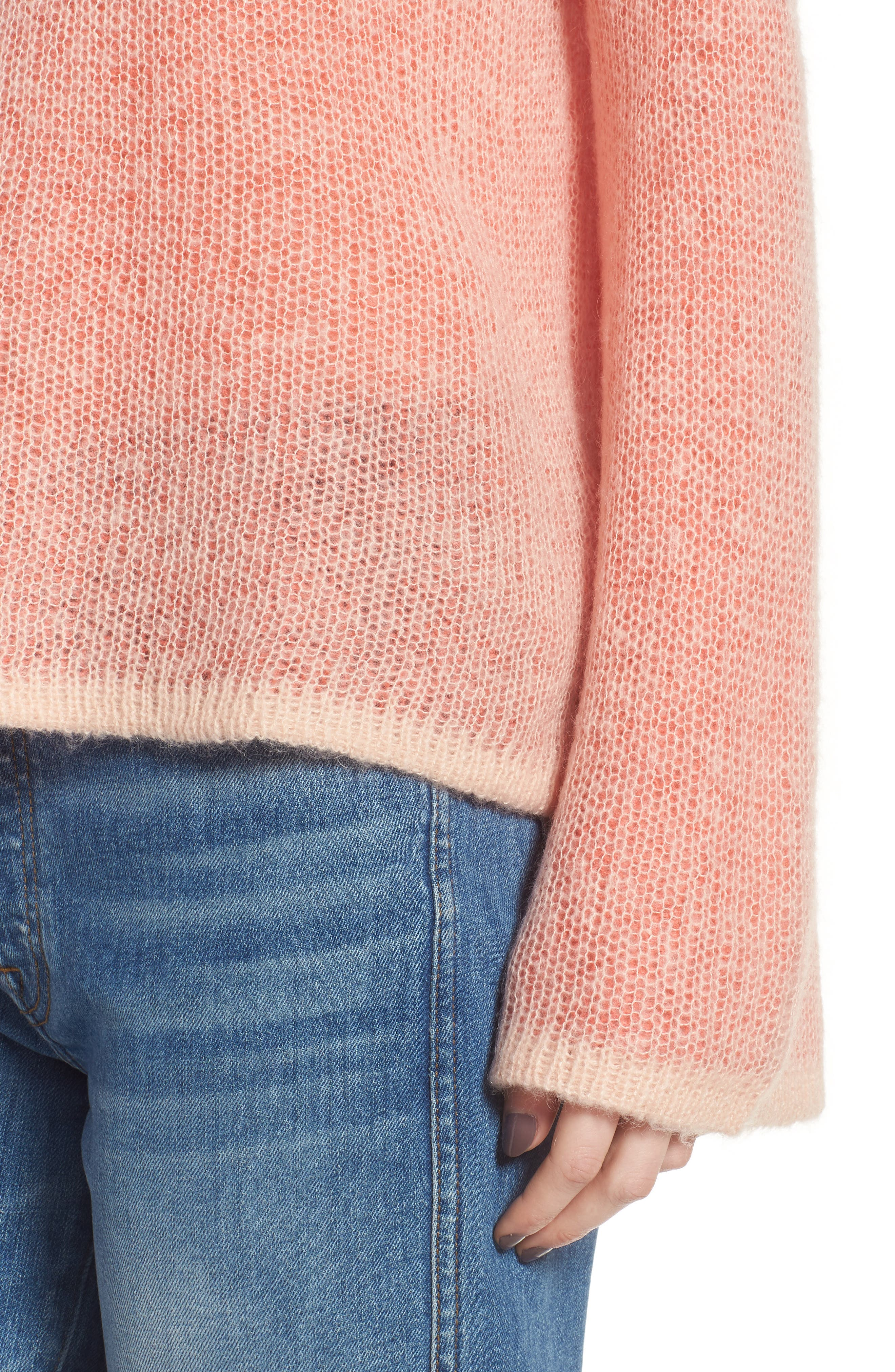 Bell Sleeve Sweater,                             Alternate thumbnail 4, color,                             Pink