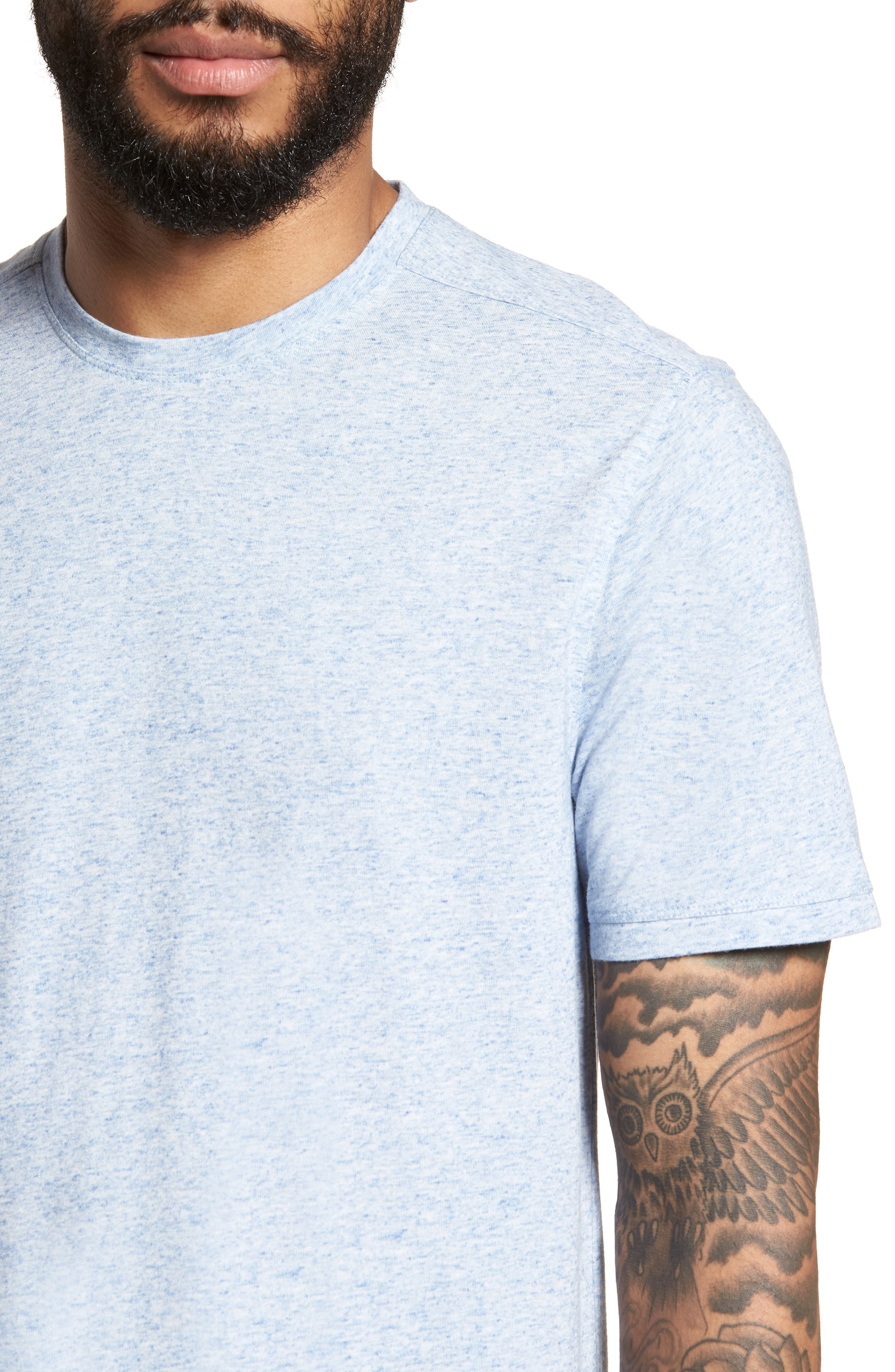 Crewneck T-Shirt,                             Alternate thumbnail 4, color,                             Blue Lake Heather
