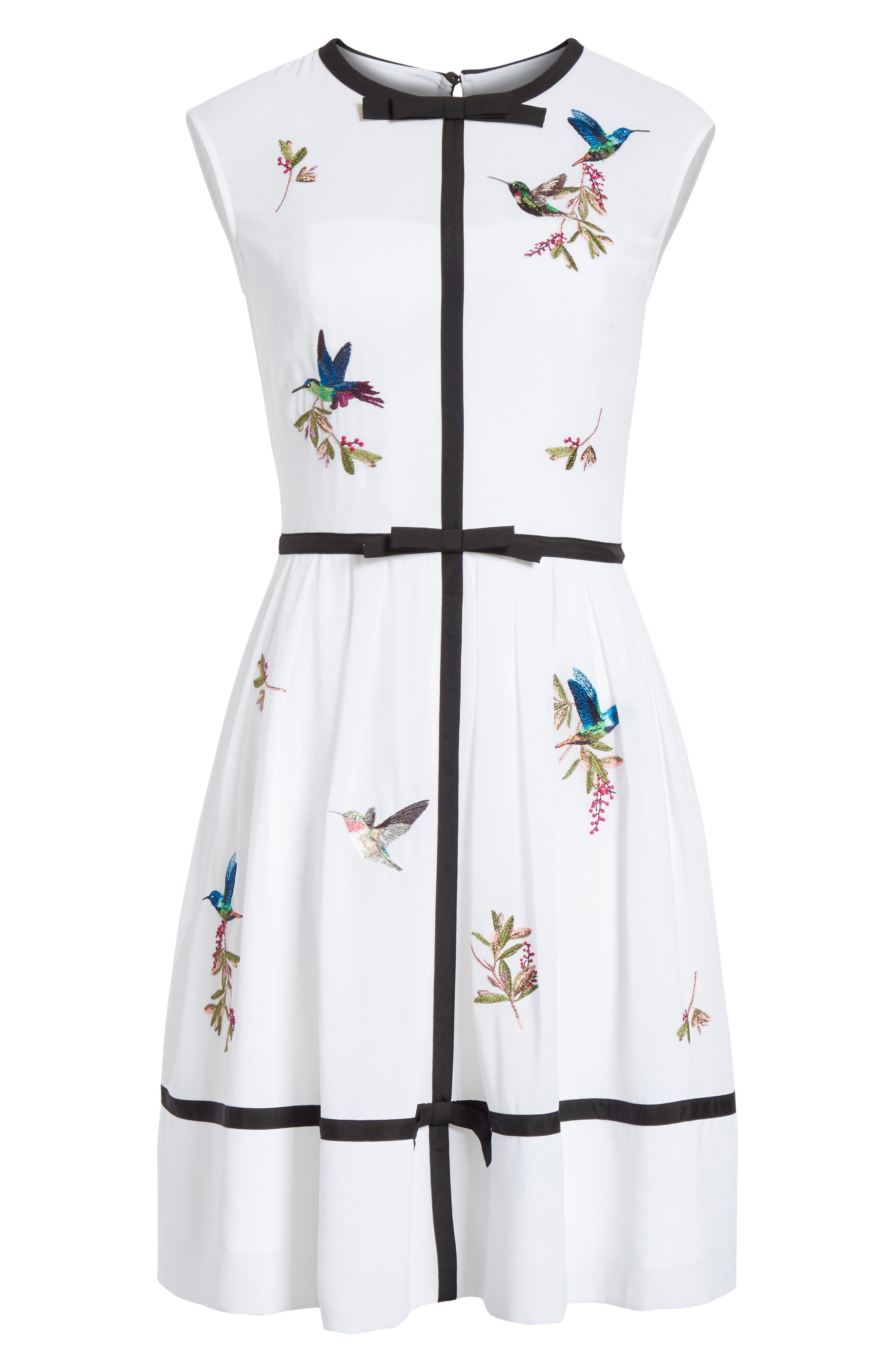 Bow Trim Embroidered Dress,                             Alternate thumbnail 6, color,                             White