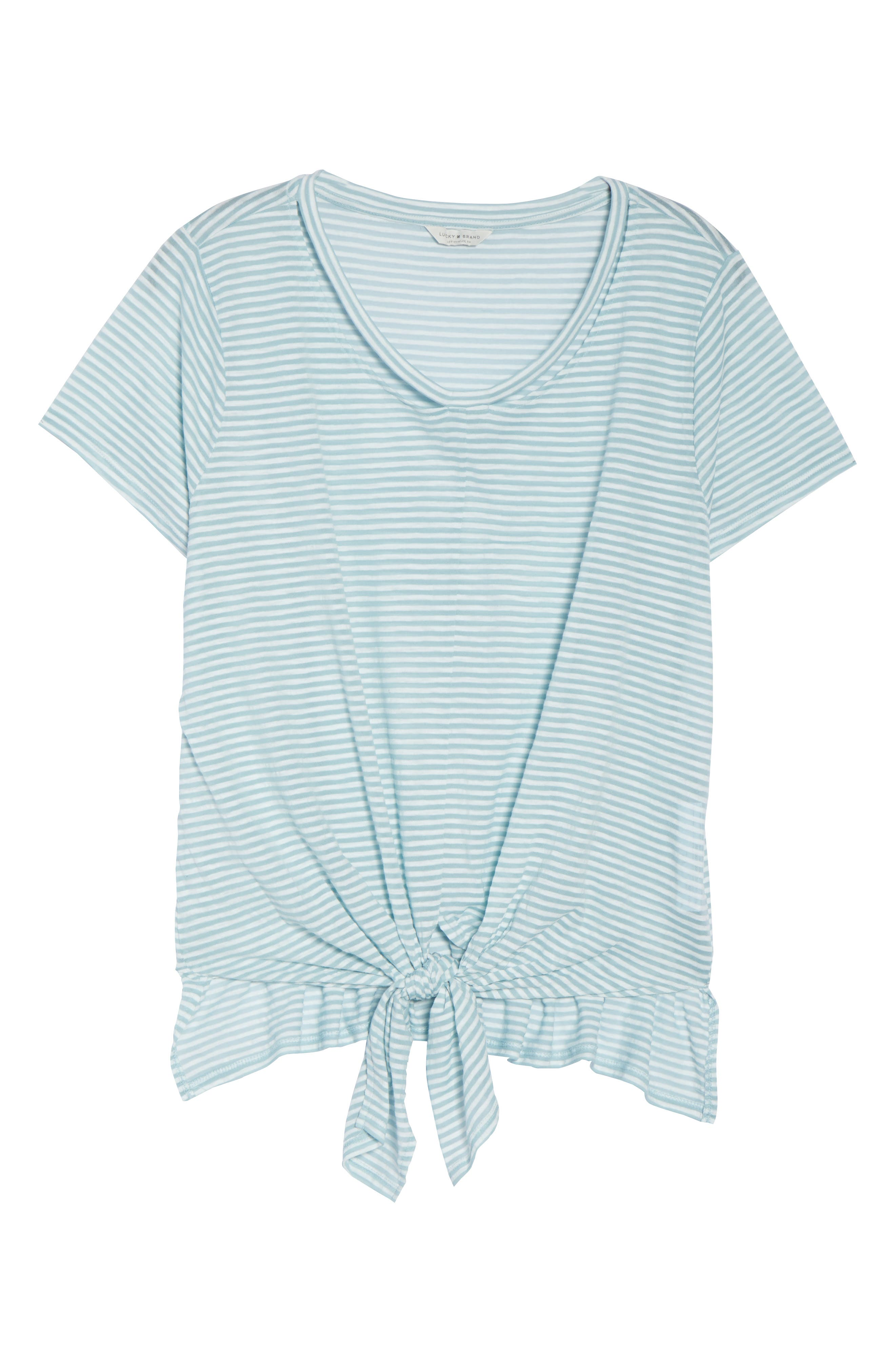 Shadow Stripe Tie Hem Tee,                             Alternate thumbnail 7, color,                             Blue Multi
