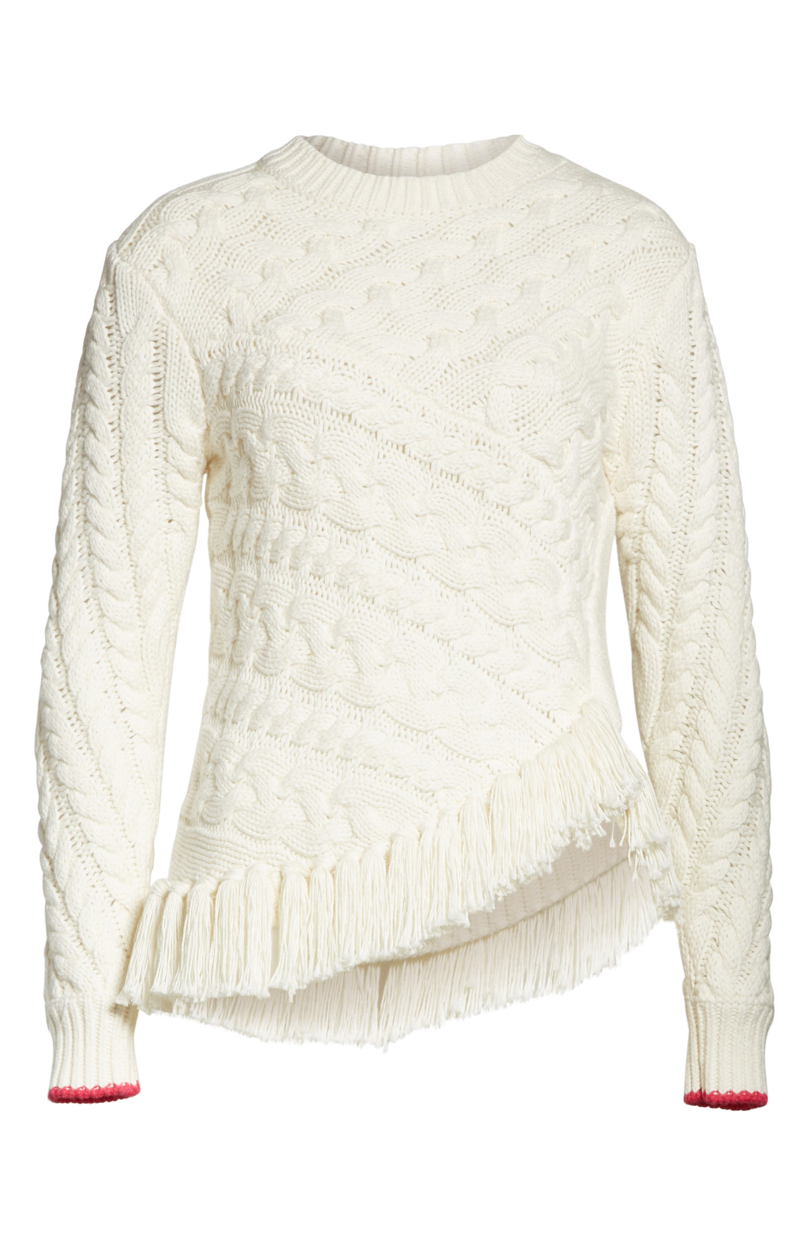 Colour by Numbers Jaia Fringe Sweater,                             Alternate thumbnail 6, color,                             White