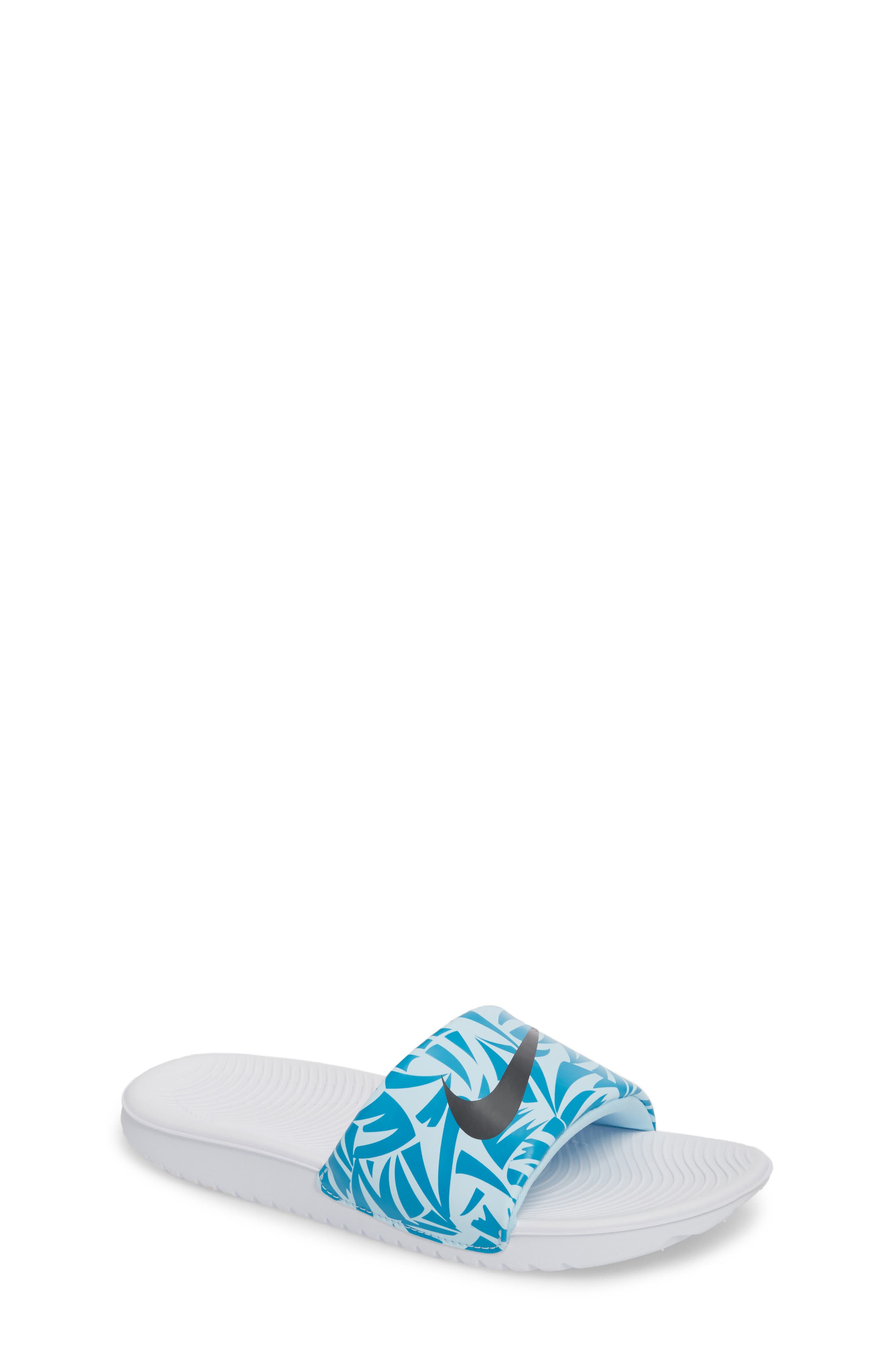 'Kawa' Print Slide Sandal,                             Main thumbnail 1, color,                             White/ Anthracite/ Turquoise